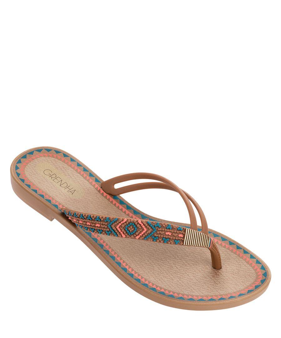 Acai tan aztec fabric flip flops