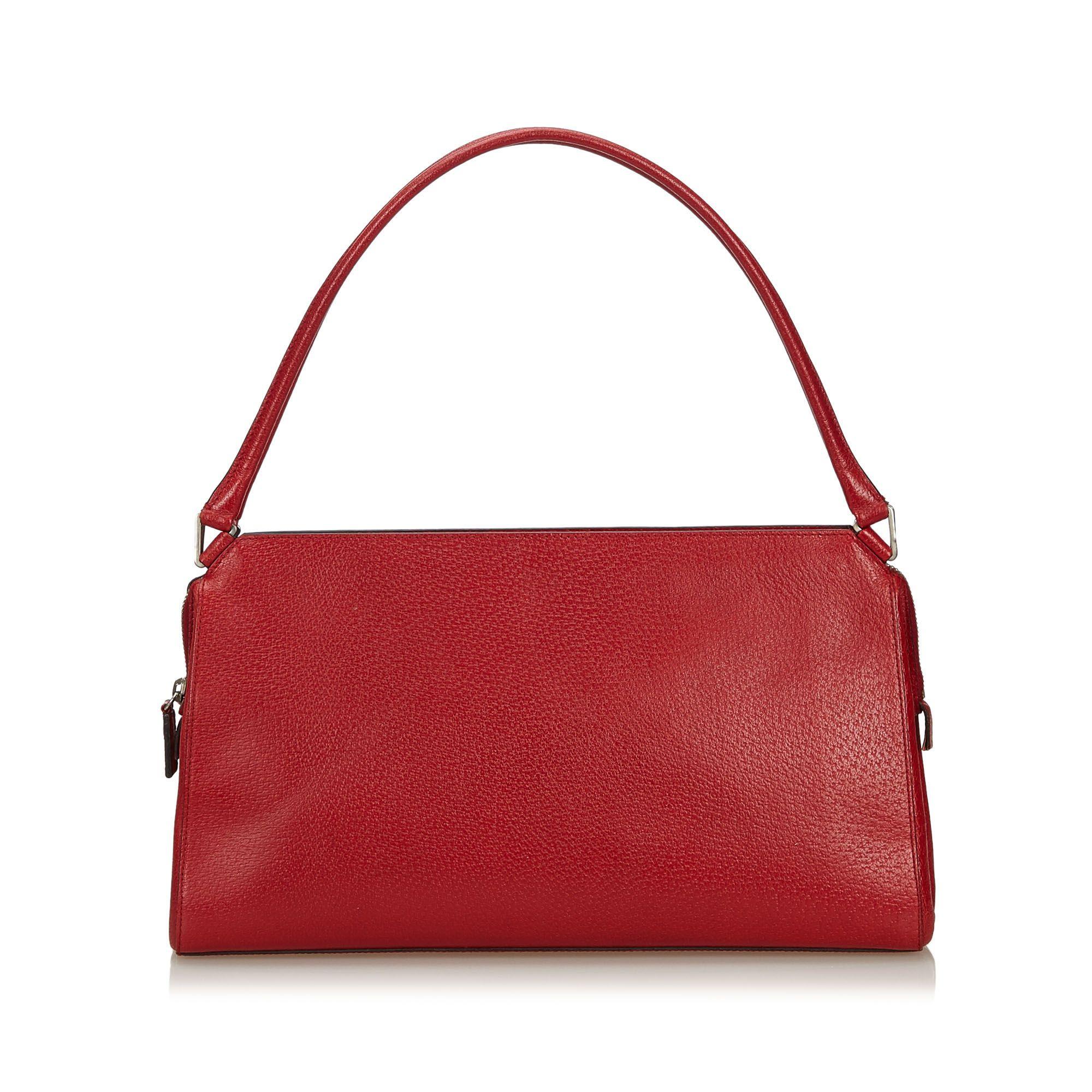 Vintage Prada Leather Baguette Red