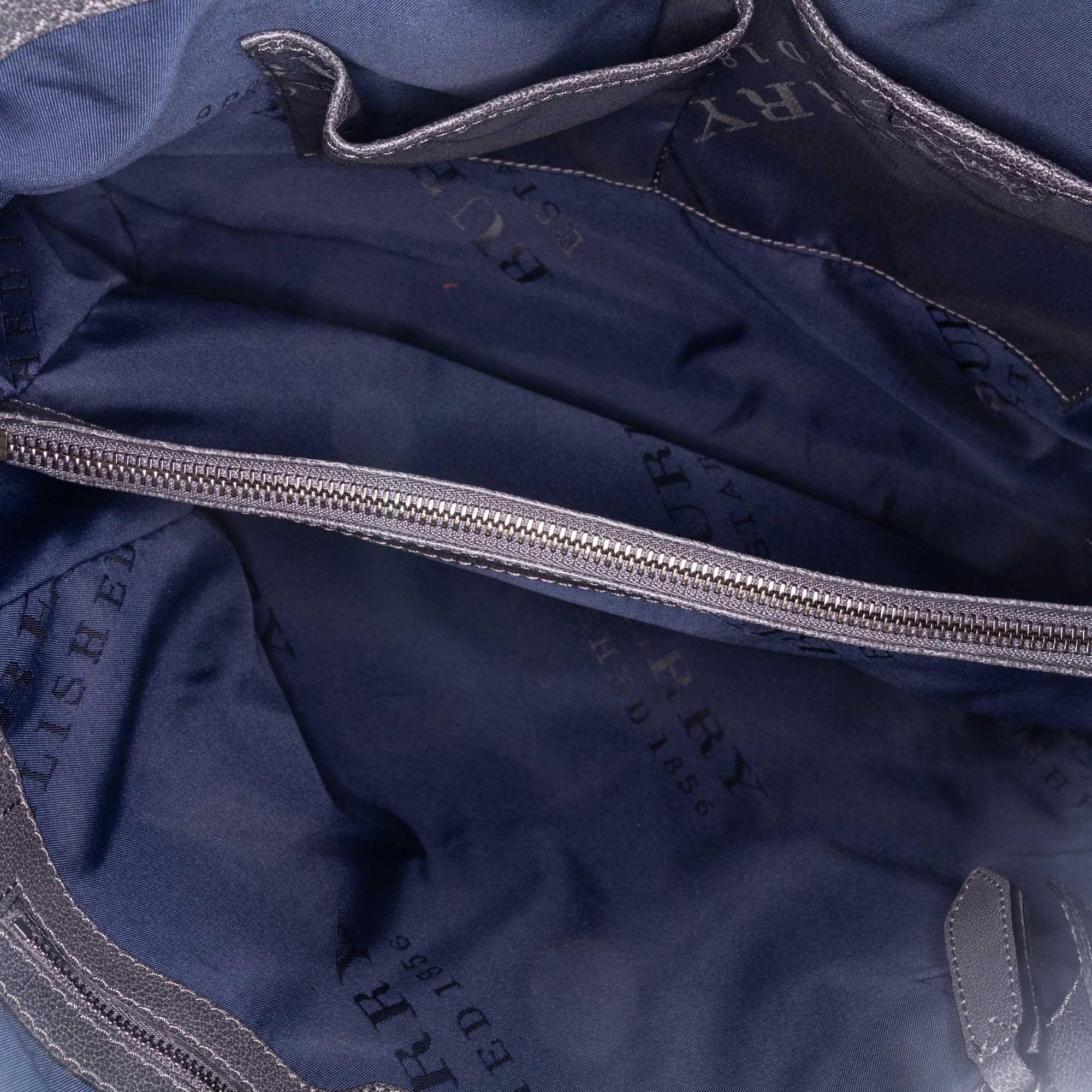 Vintage Burberry Raffia Tote Bag Gray