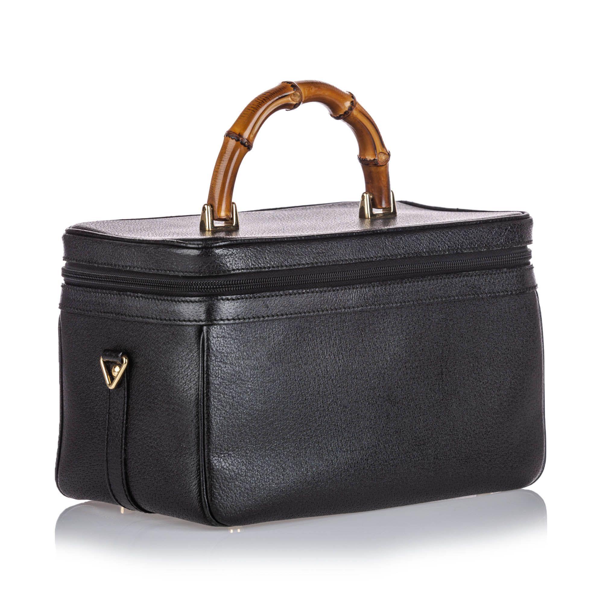 Vintage Gucci Bamboo Leather Vanity Bag Black