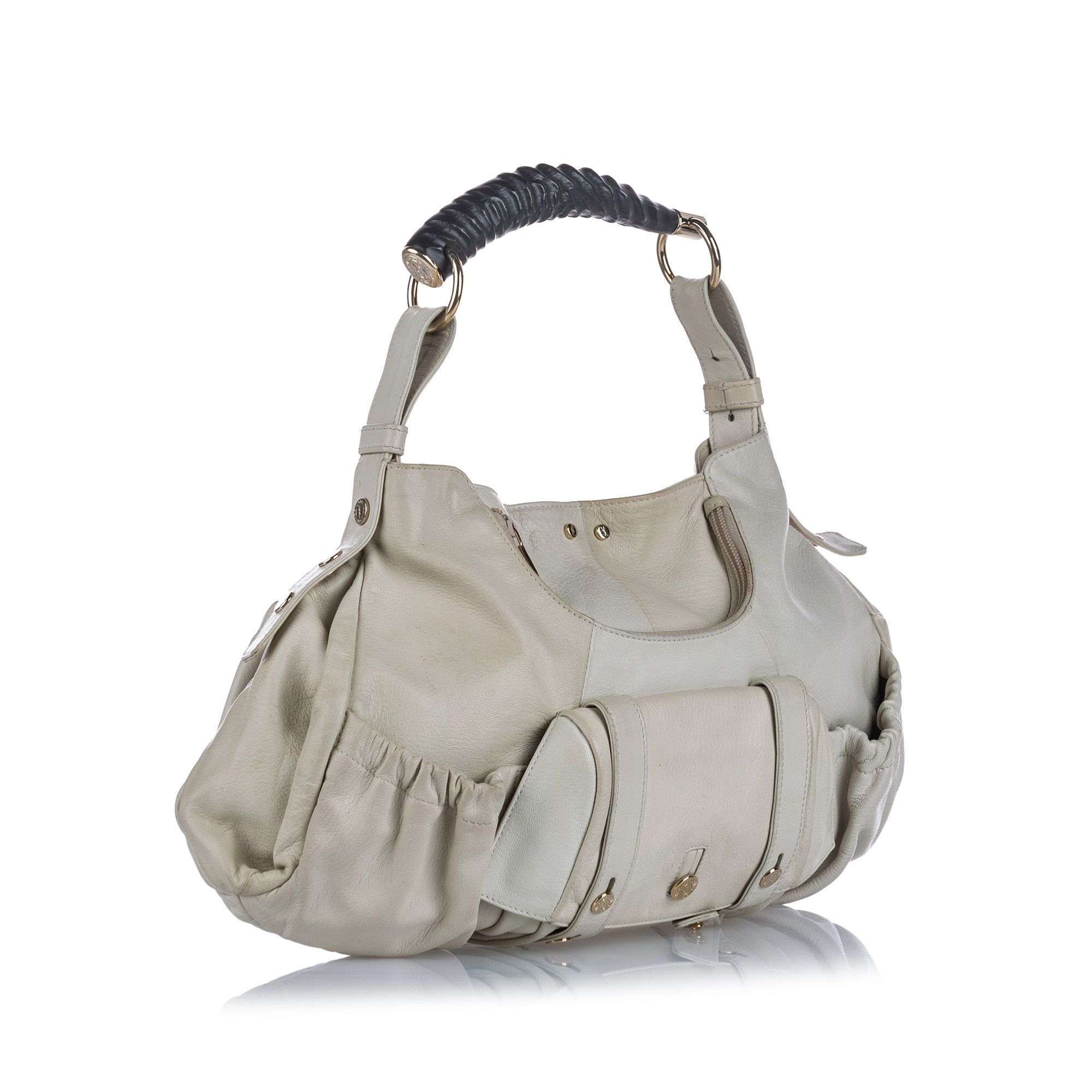 Vintage YSL Mombasa Leather Shoulder Bag White