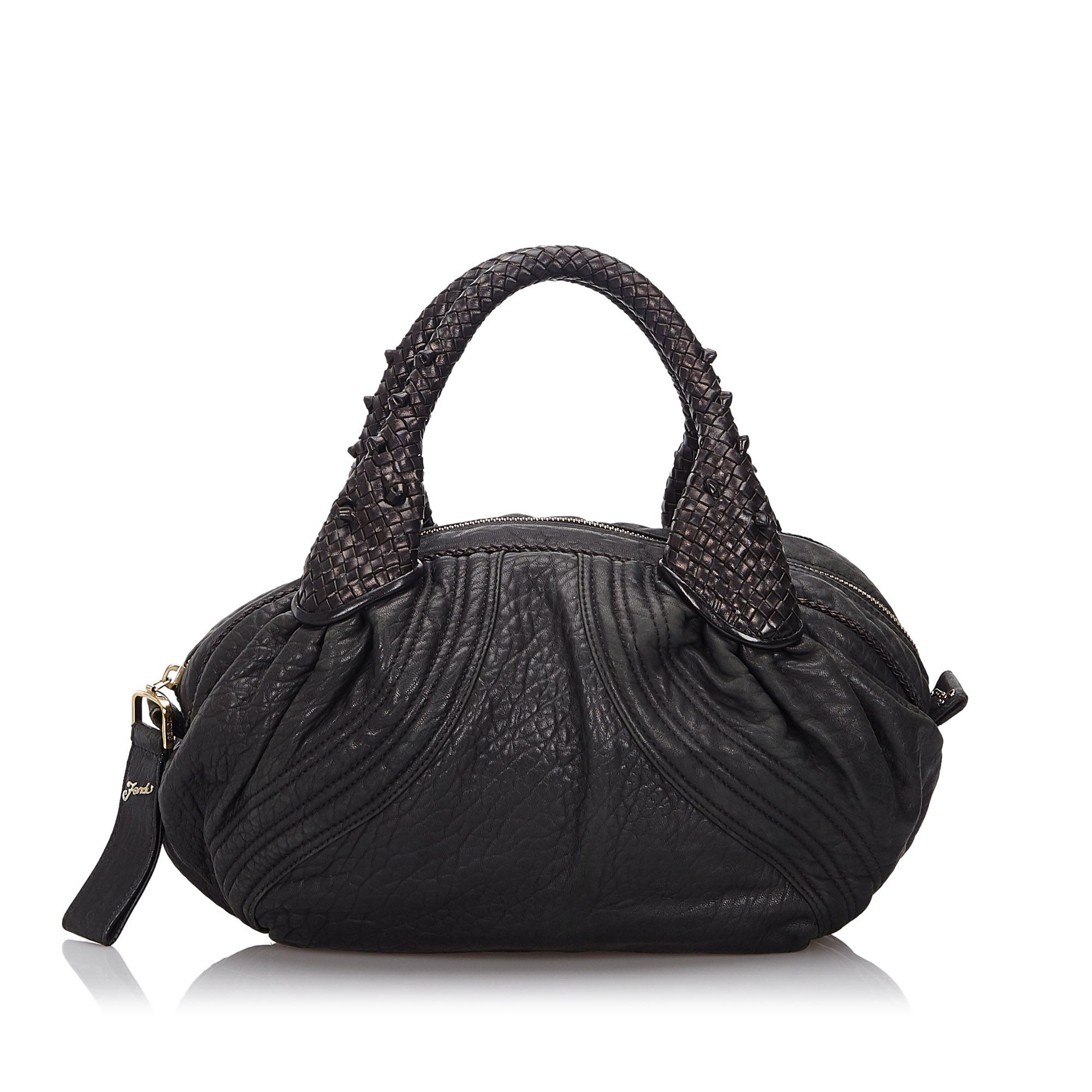 Vintage Fendi Leather Mini Spy Hobo Bag Black