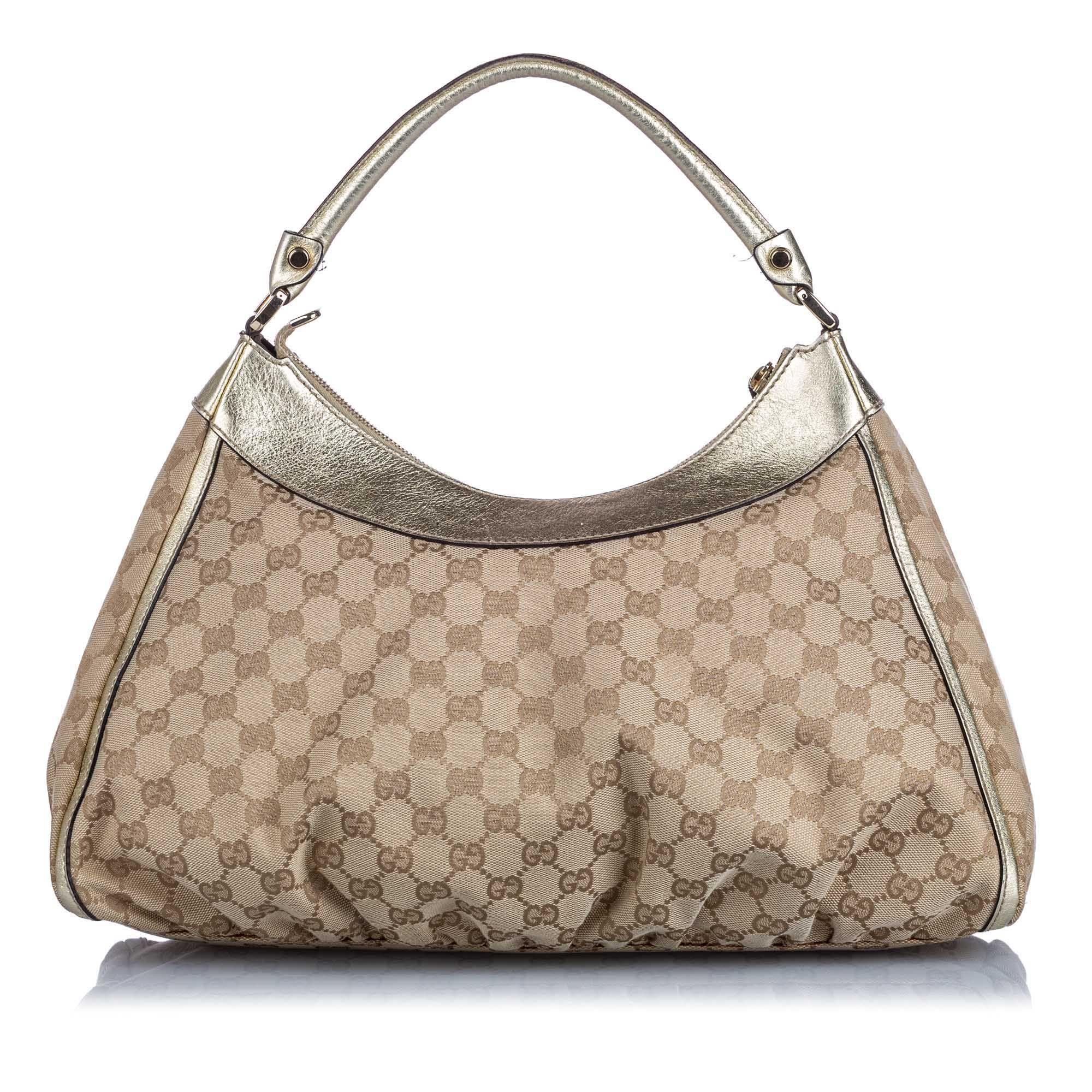 Vintage Gucci GG Canvas Abbey D-Ring Handbag Brown