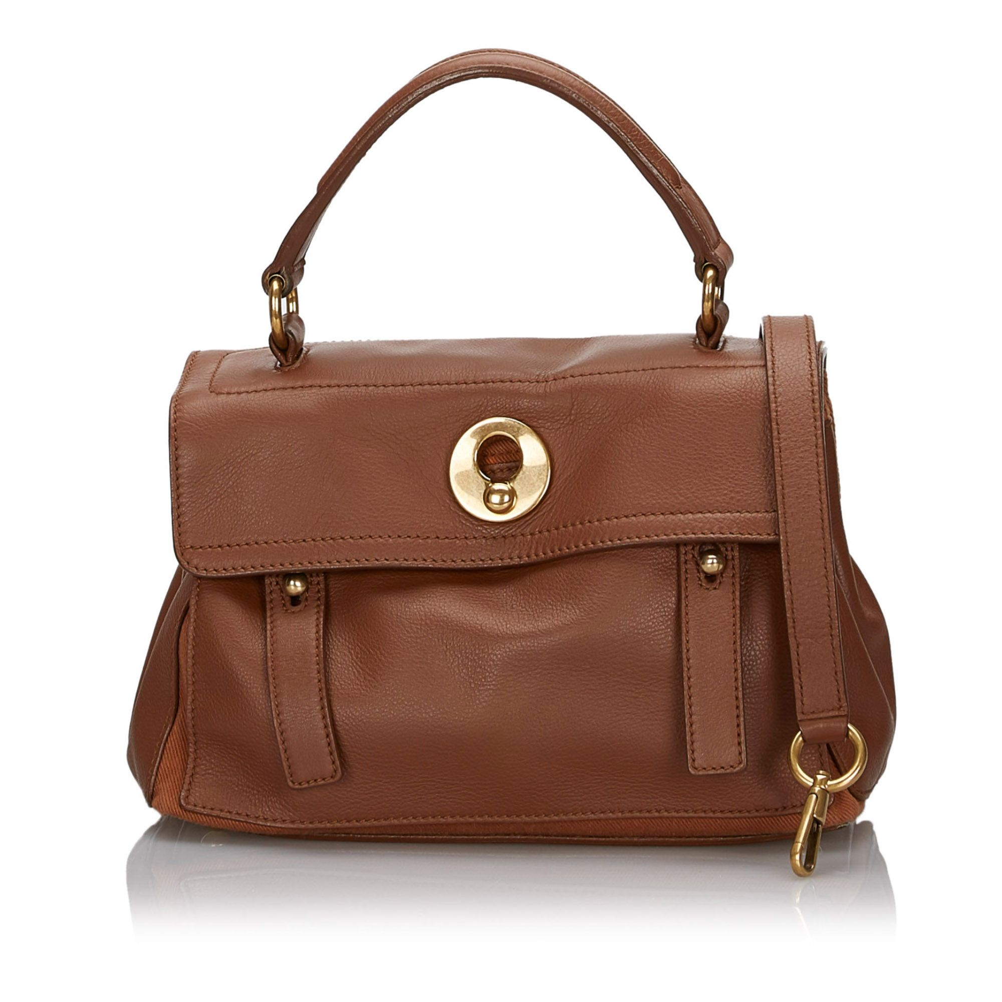 Vintage YSL Leather Muse Two Satchel Brown