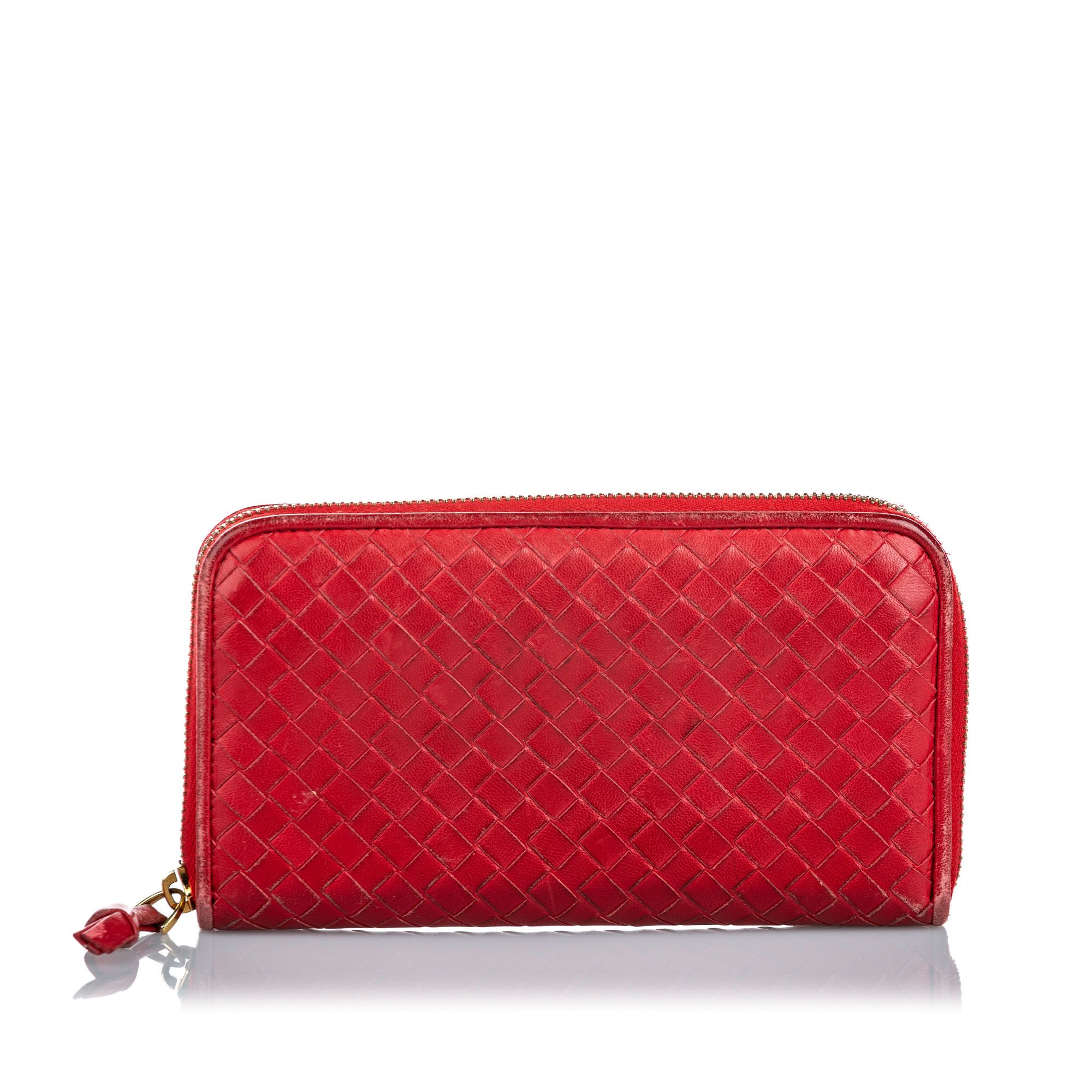 Vintage Bottega Veneta Intrecciato Leather Zip Around Wallet Red
