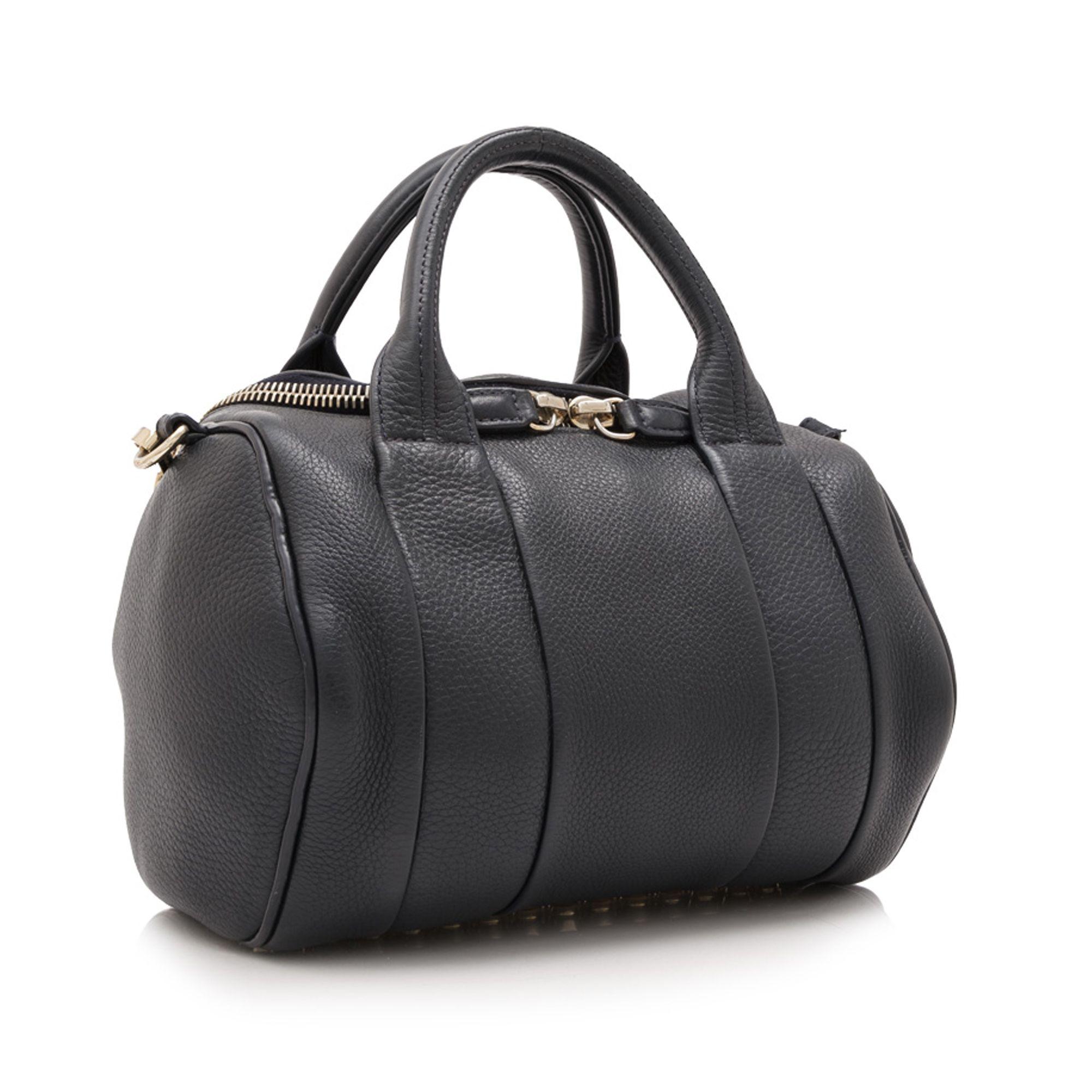 Vintage Alexander Wang Calf Leather Rockie Boston Bag Black