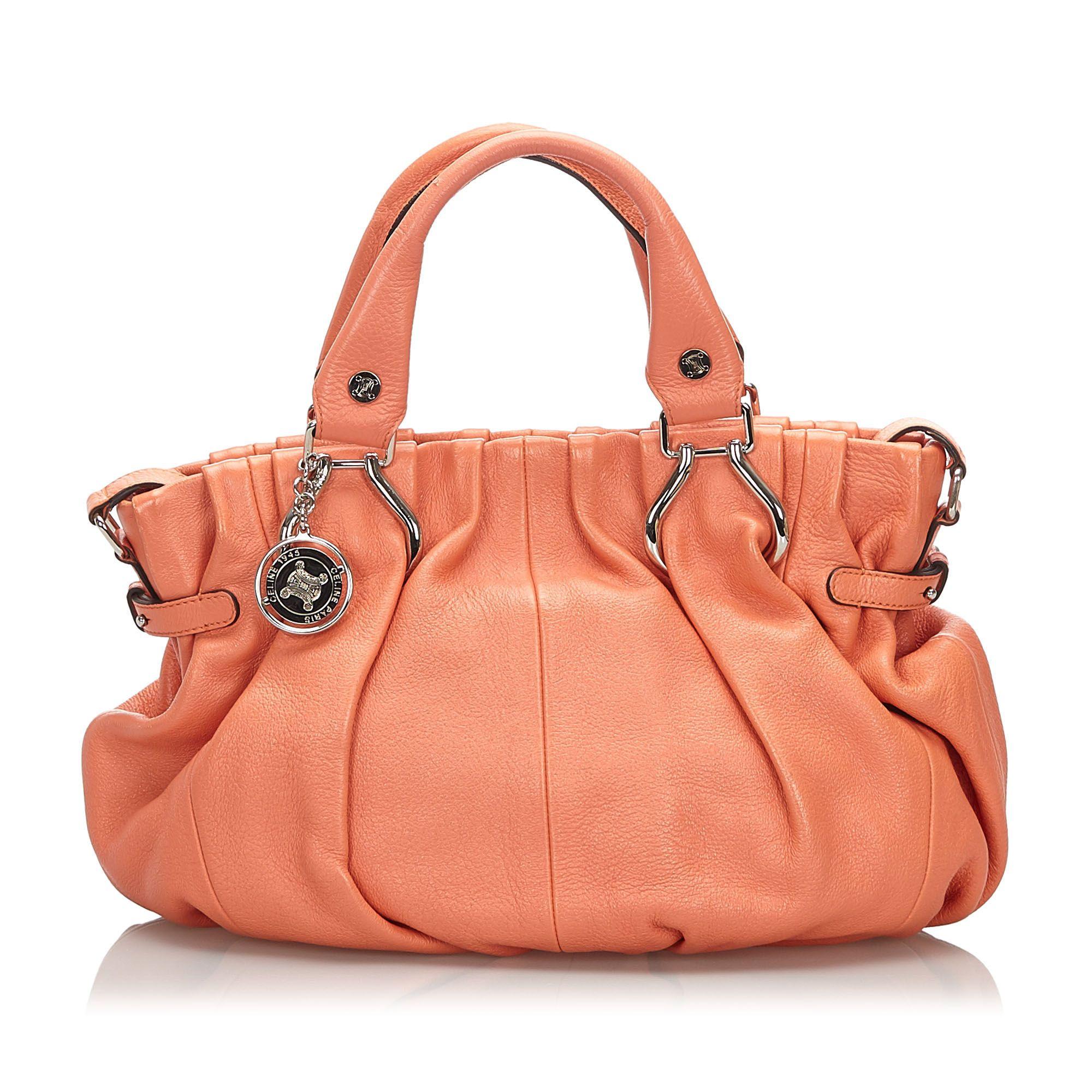 Vintage Celine Leather Satchel Orange