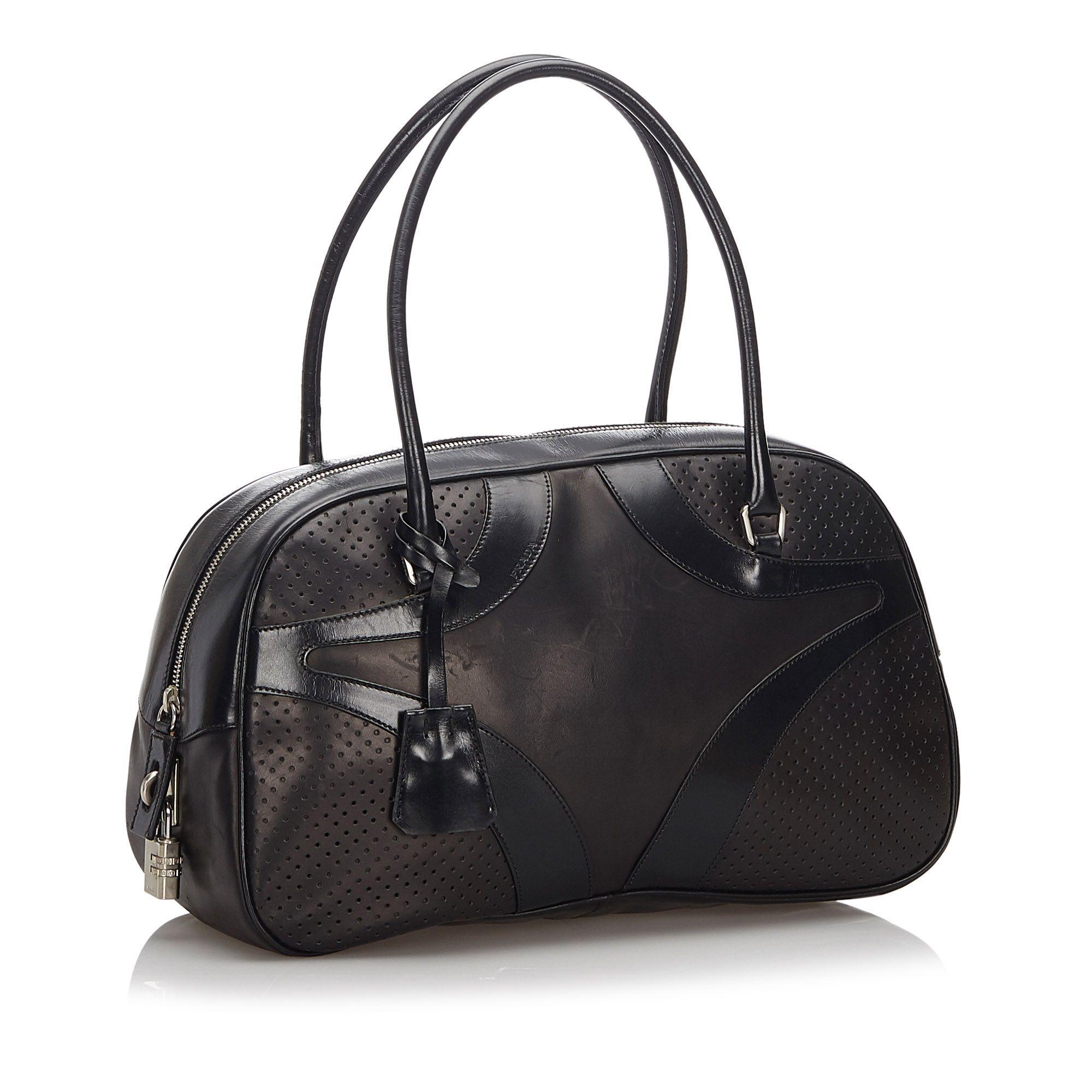 Vintage Prada Leather Vitello Drive Bowler Handbag Black