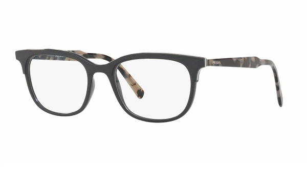 Prada Rectangular plastic Unisex Eyeglasses Grey / Clear demo lens