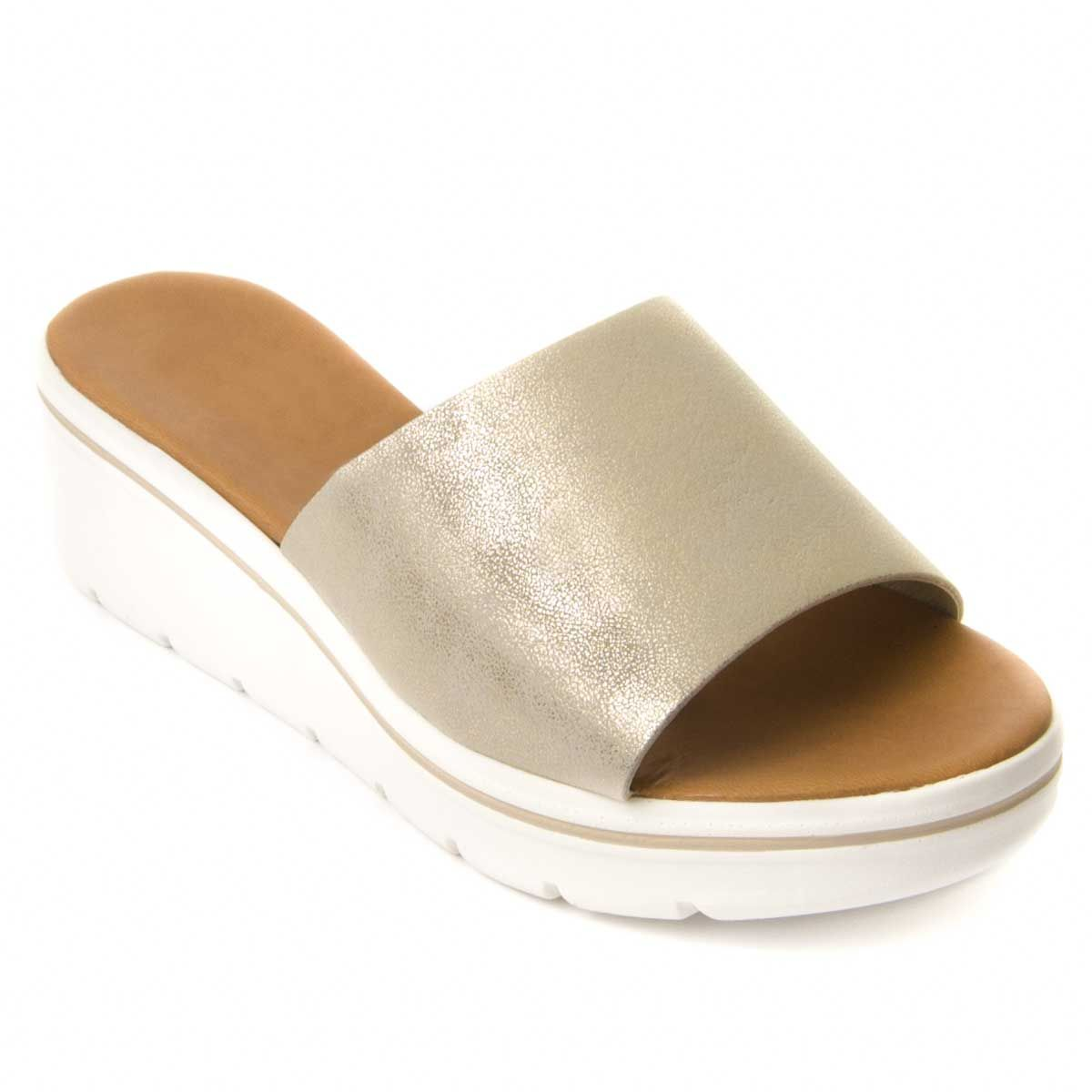 Montevita Chunky Heel Sandal in Gold