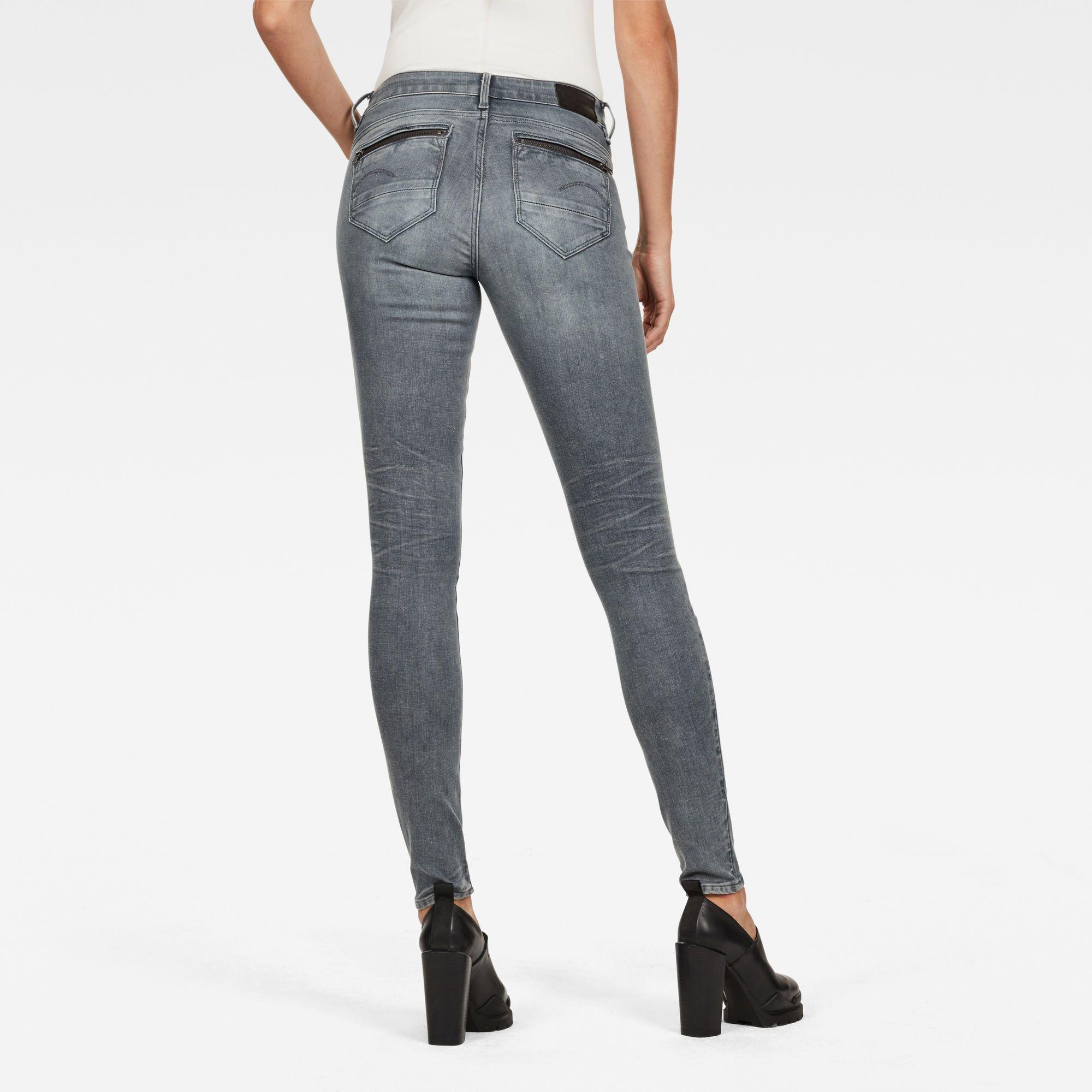 G-Star RAW Midge Zip Mid Waist Skinny Color Jeans