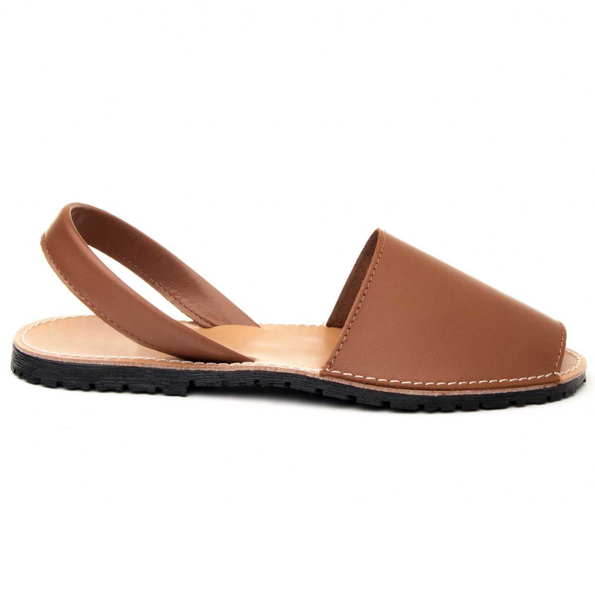 Purapiel Slingback Flat Sandal in Camel