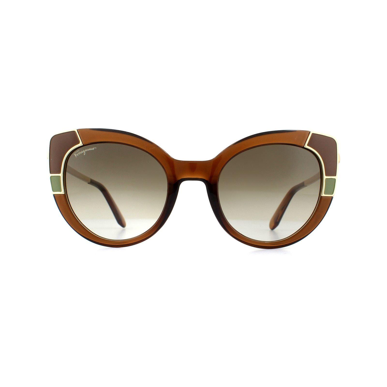 Salvatore Ferragamo Sunglasses SF890S 210 Crystal Brown Grey Gradient