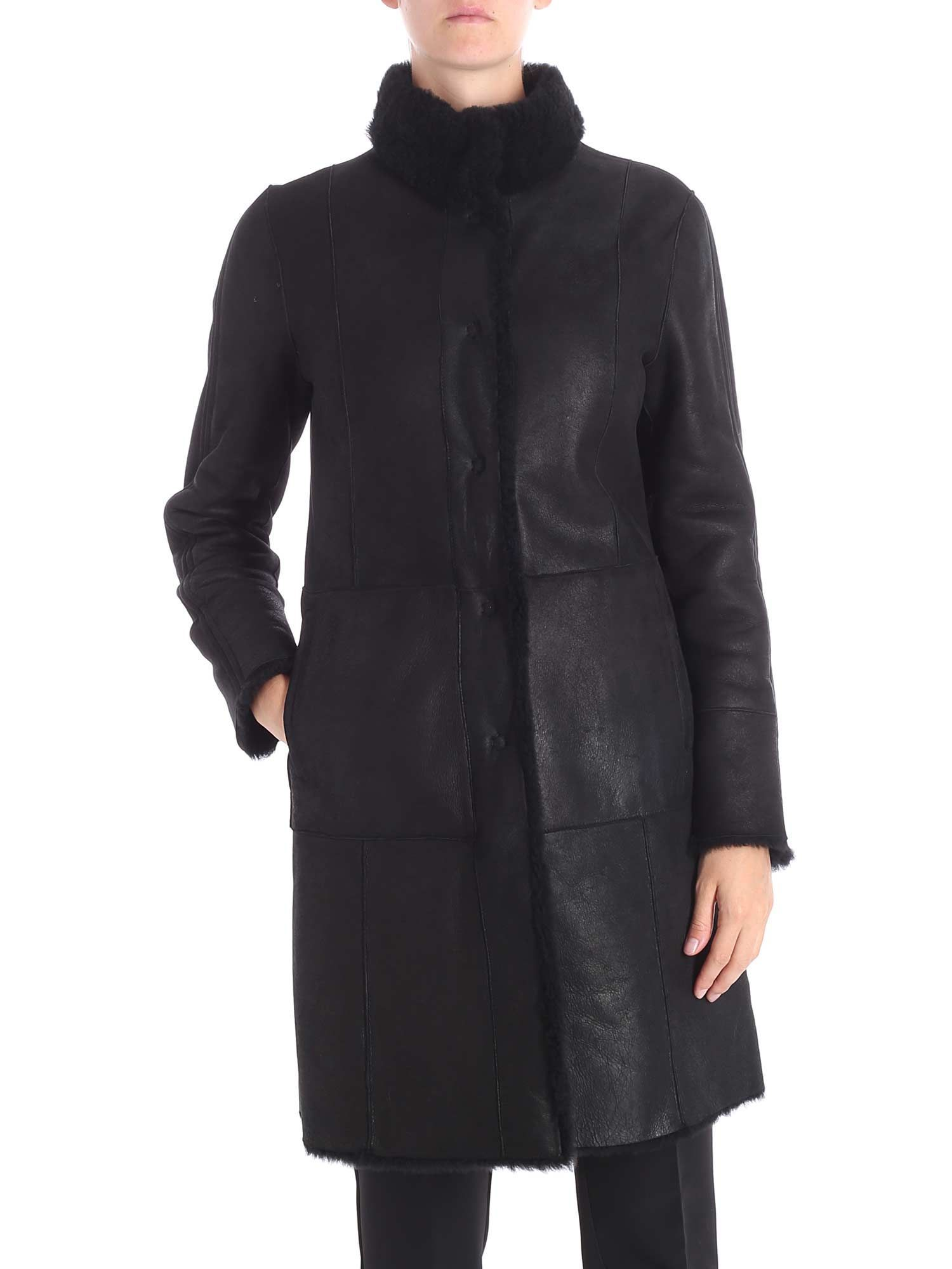 DROME WOMEN'S DPD5516PD1343800 BLACK LEATHER COAT