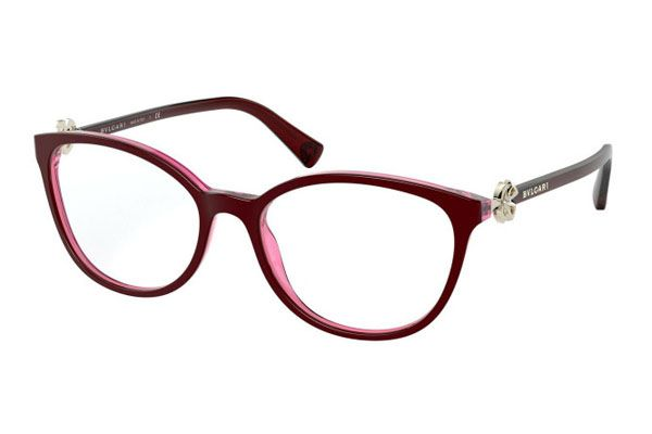 Bvlgari Cat eye plastic Unisex Eyeglasses Bordeaux / Transparent Red / Clear Lens