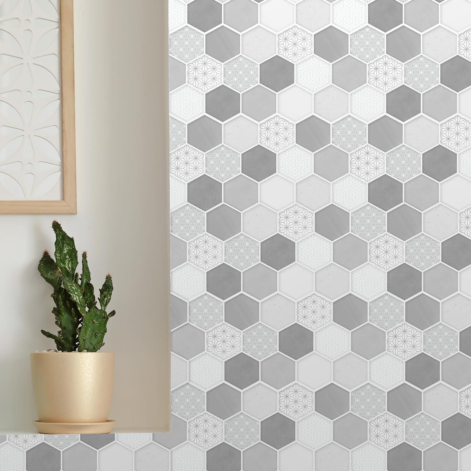Honey Hexa Grey Glossy 3D DIY Self Adhesive Tile Stickers 30 x 15cm (11.8in x 6 in) - 12pcs in a pack, 3D Tiles Wall Stickers, Kitchen, Bathroom, Living room, peel and stick