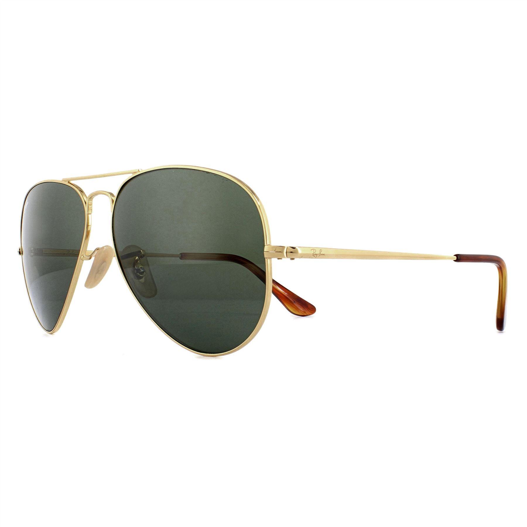 Ray-Ban Sunglasses Aviator Metal II RB3689 914731 Gold Green
