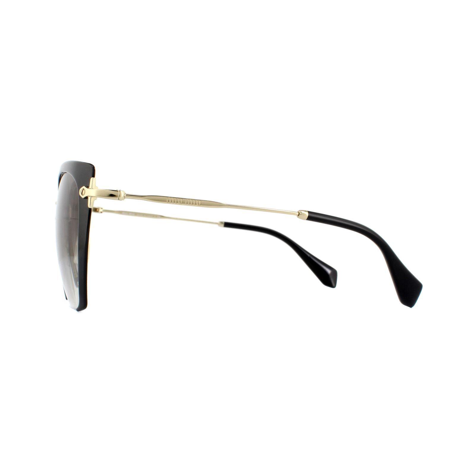 Miu Miu Sunglasses MU52RS 1AB0A7 Black With Gold Arms Brown Gradient