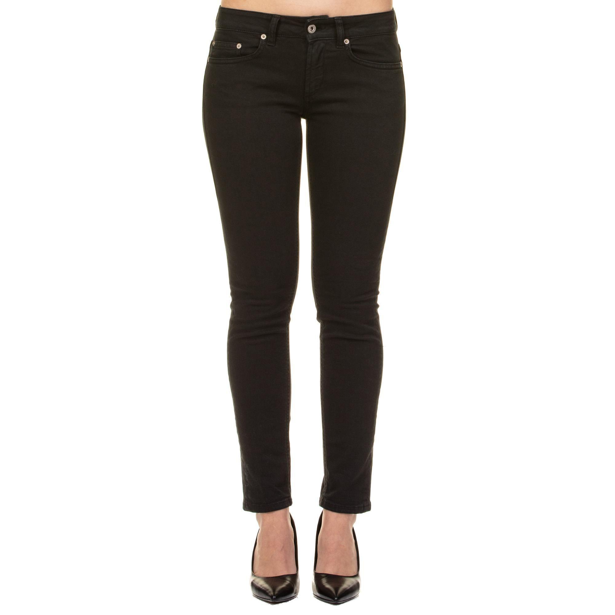 DONDUP WOMEN'S P692BS0009PTD999 BLACK COTTON PANTS