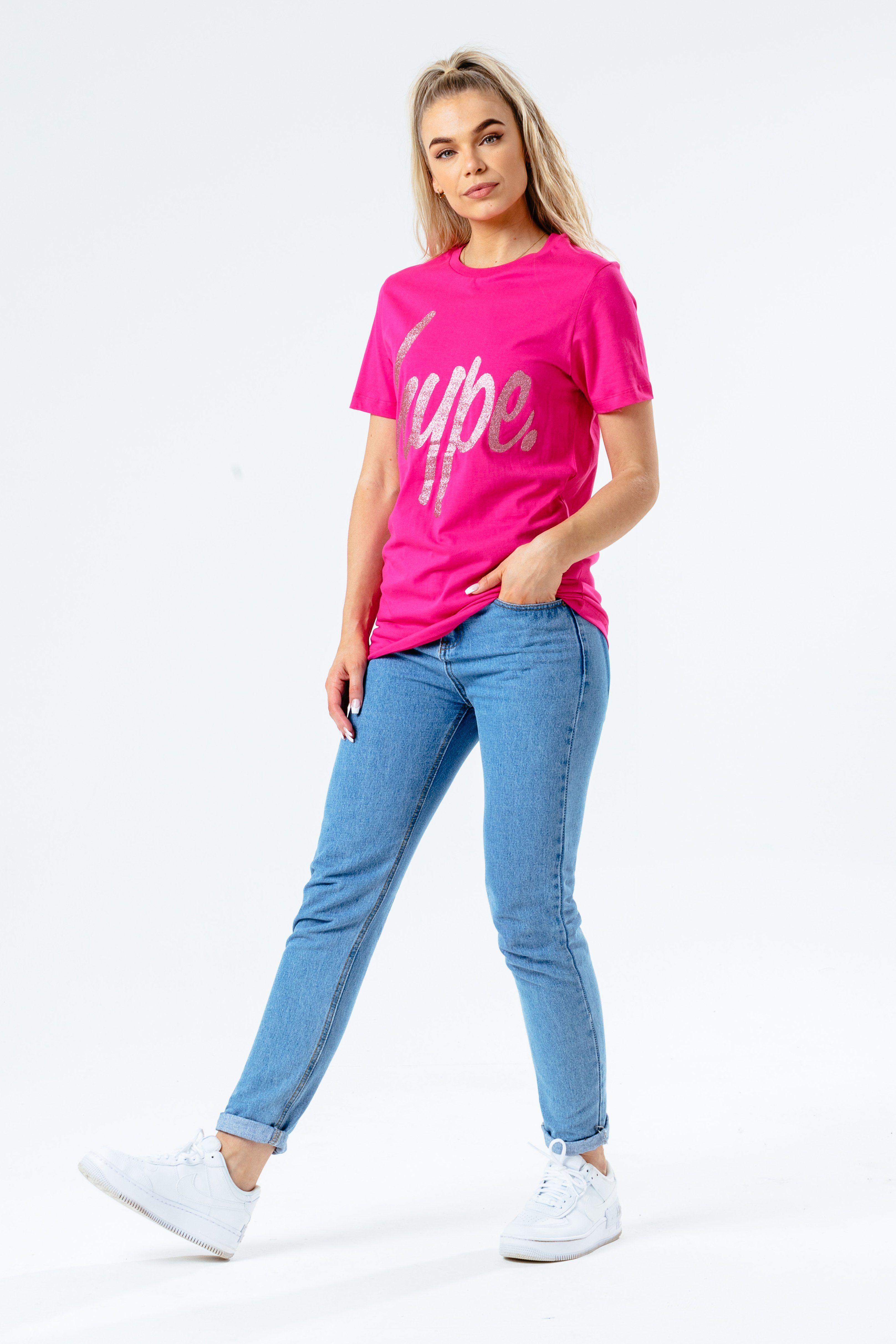 HYPE PINK GLITTER SCRIPT WOMEN'S T-SHIRT