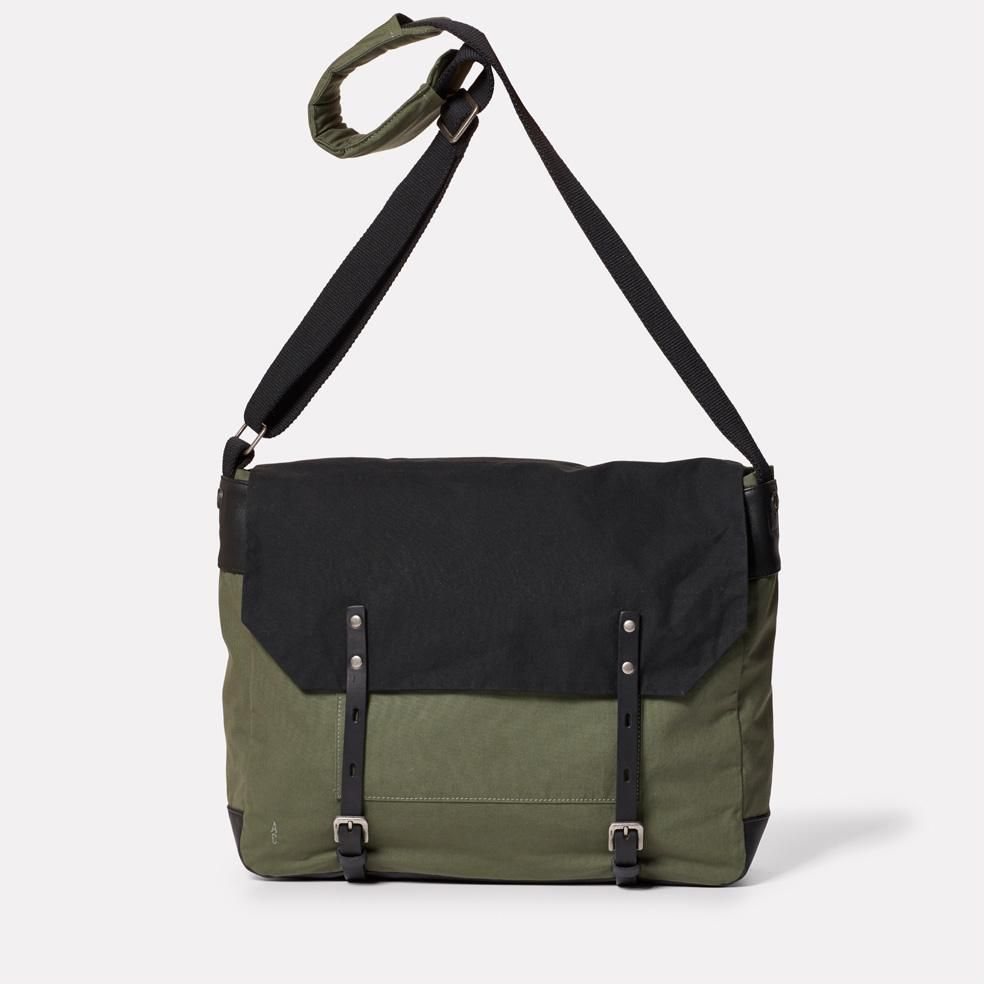 Jeremy Waxed Cotton Satchel in Black and Olive