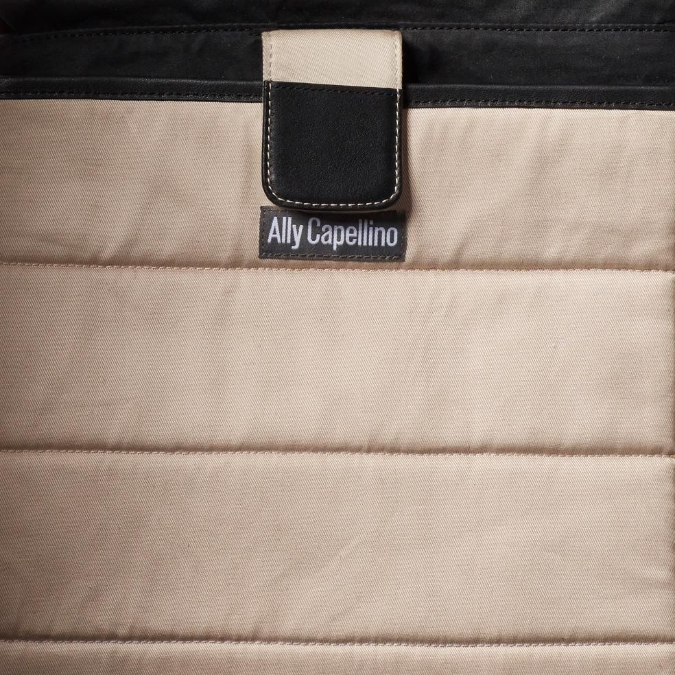 Jonny Waxed Cotton Satchel in Black and Olive