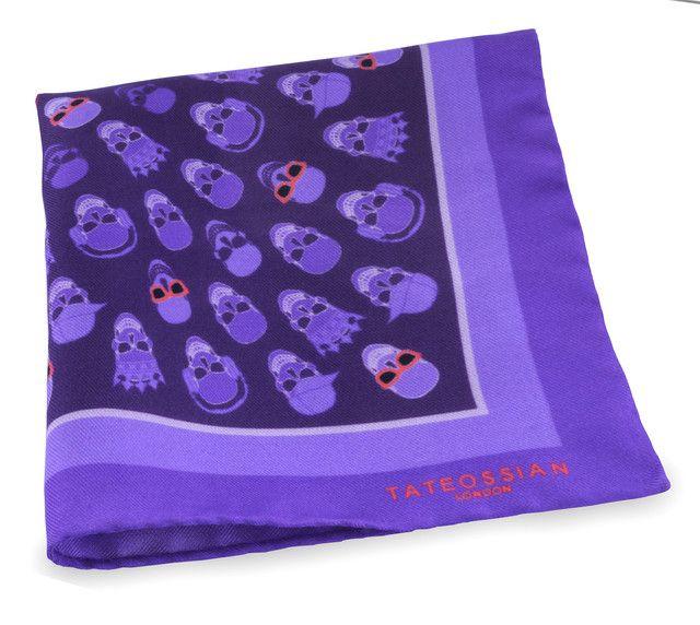 Purple silk skull printed pocket square