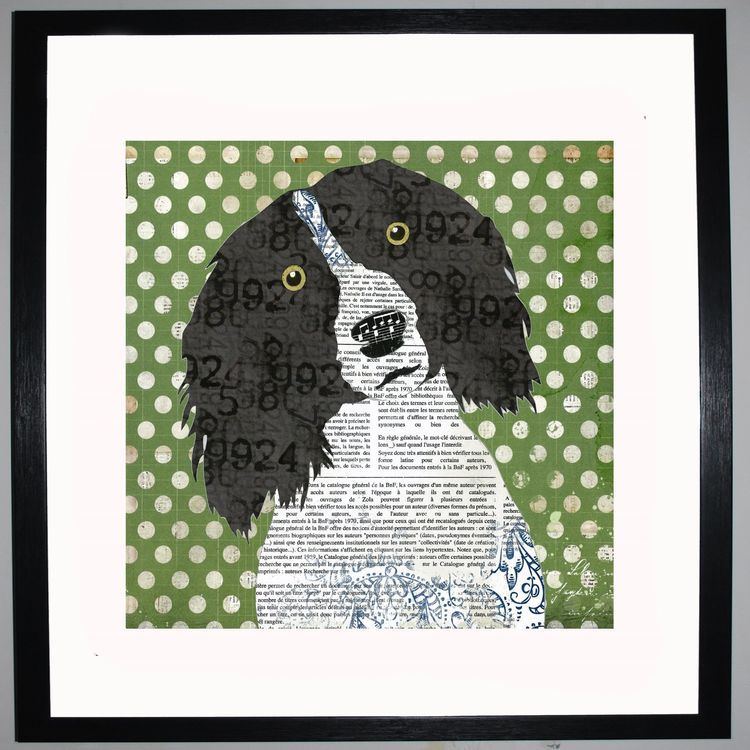 Spaniel by UK Collage artist and illustrator Clare Thompson