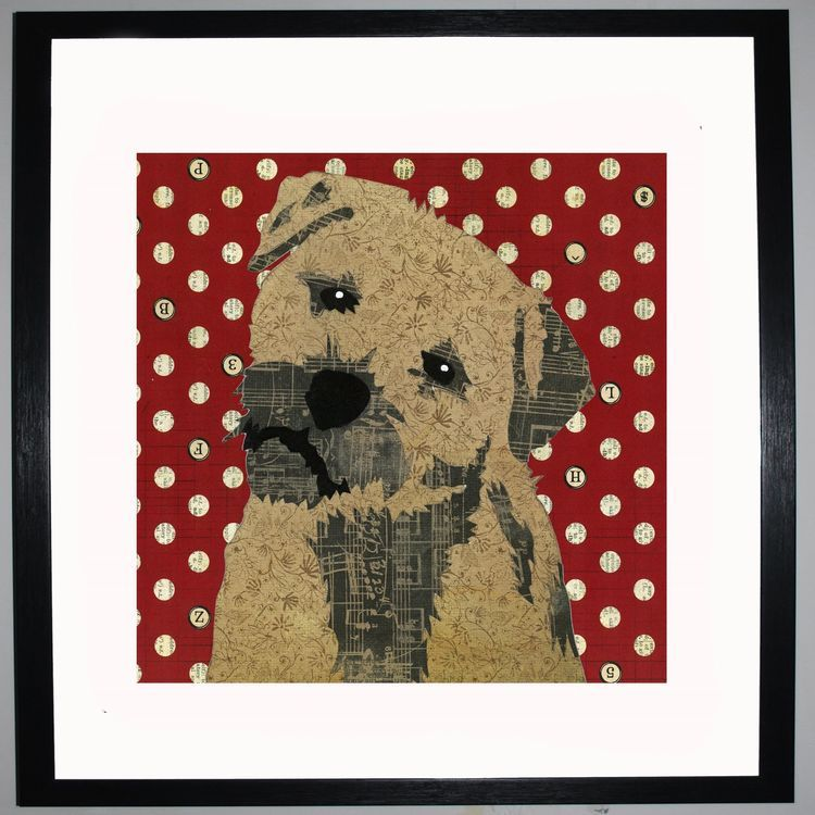 Border Terrier by UK Collage artist and illustrator Clare Thompson