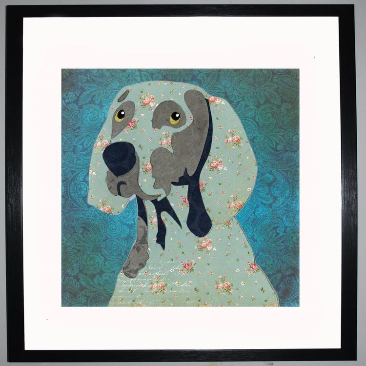 Weimaraner by UK Collage artist and illustrator Clare Thompson