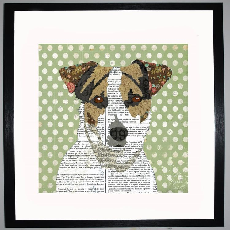 Jack Russell by UK Collage artist and illustrator Clare Thompson