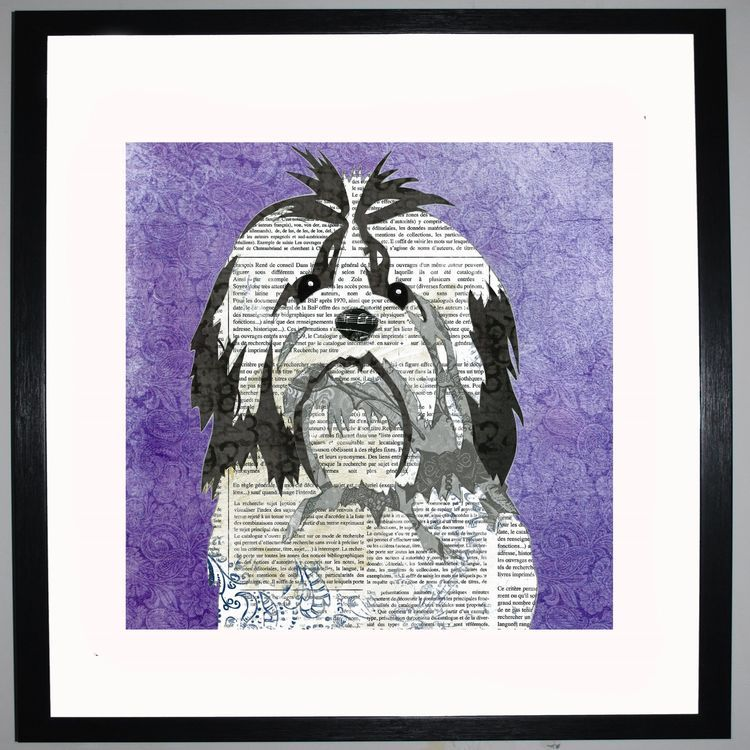 Shih Tzu by UK Collage artist and illustrator Clare Thompson