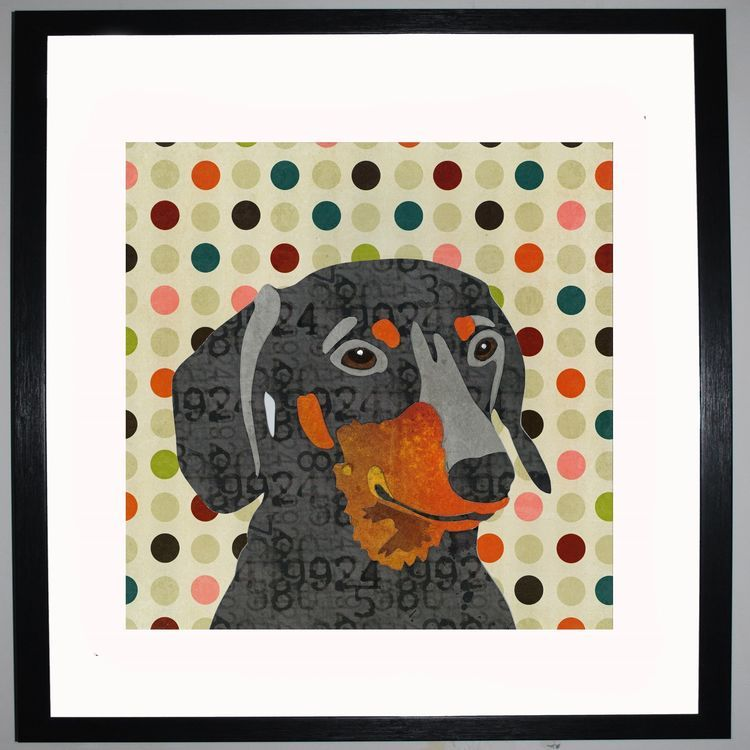 Dachshund by UK Collage artist and illustrator Clare Thompson