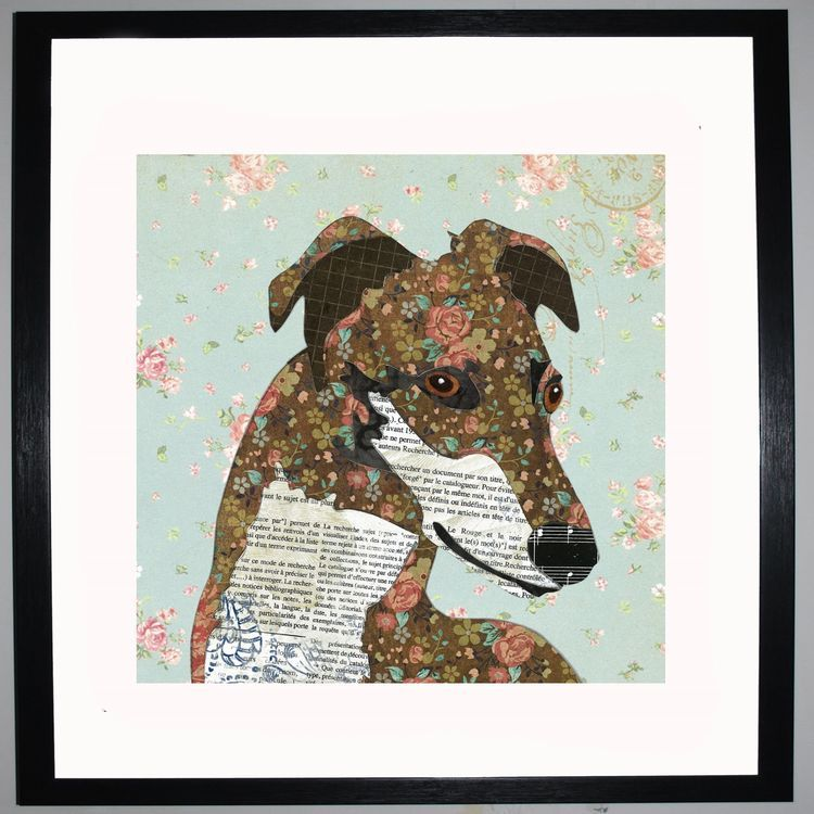 Greyhound by UK Collage artist and illustrator Clare Thompson