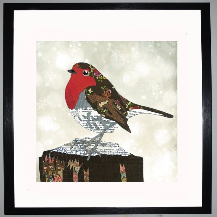 Robin by UK Collage artist and illustrator Clare Thompson