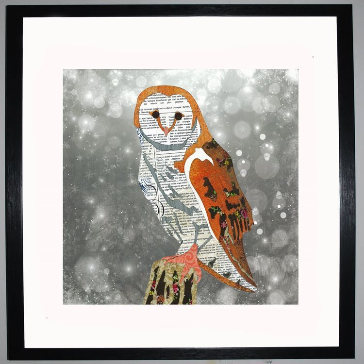 Owl by UK Collage artist and illustrator Clare Thompson