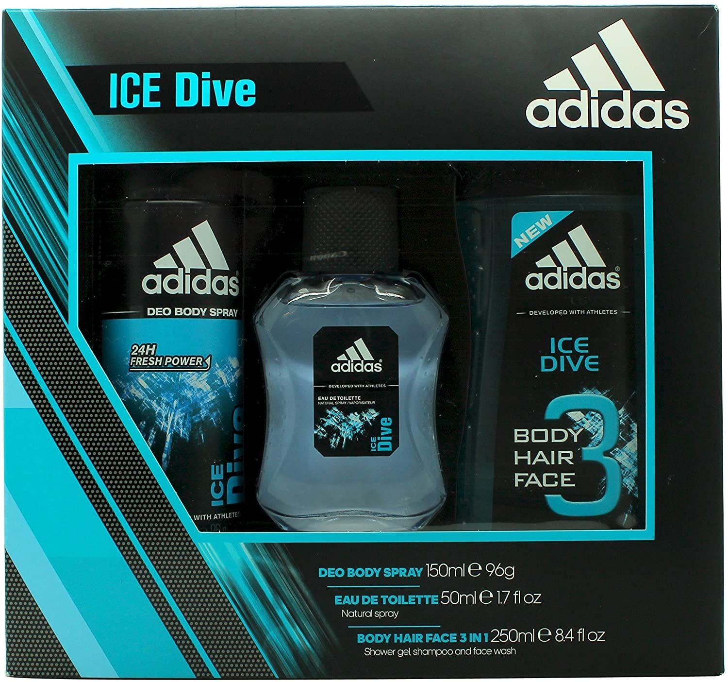 Adidas Ice Dive Gift Set 50Ml Eau De Toilette And Body Spray 150Ml And Shower Gel 250Ml