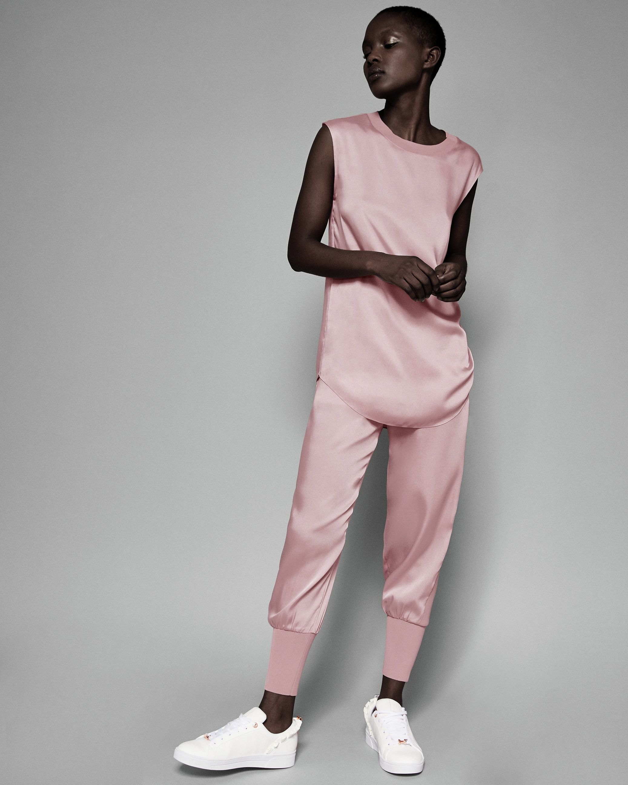 Ted Baker Aibrey Satin Jogger With Knit Trim in Dusky Pink