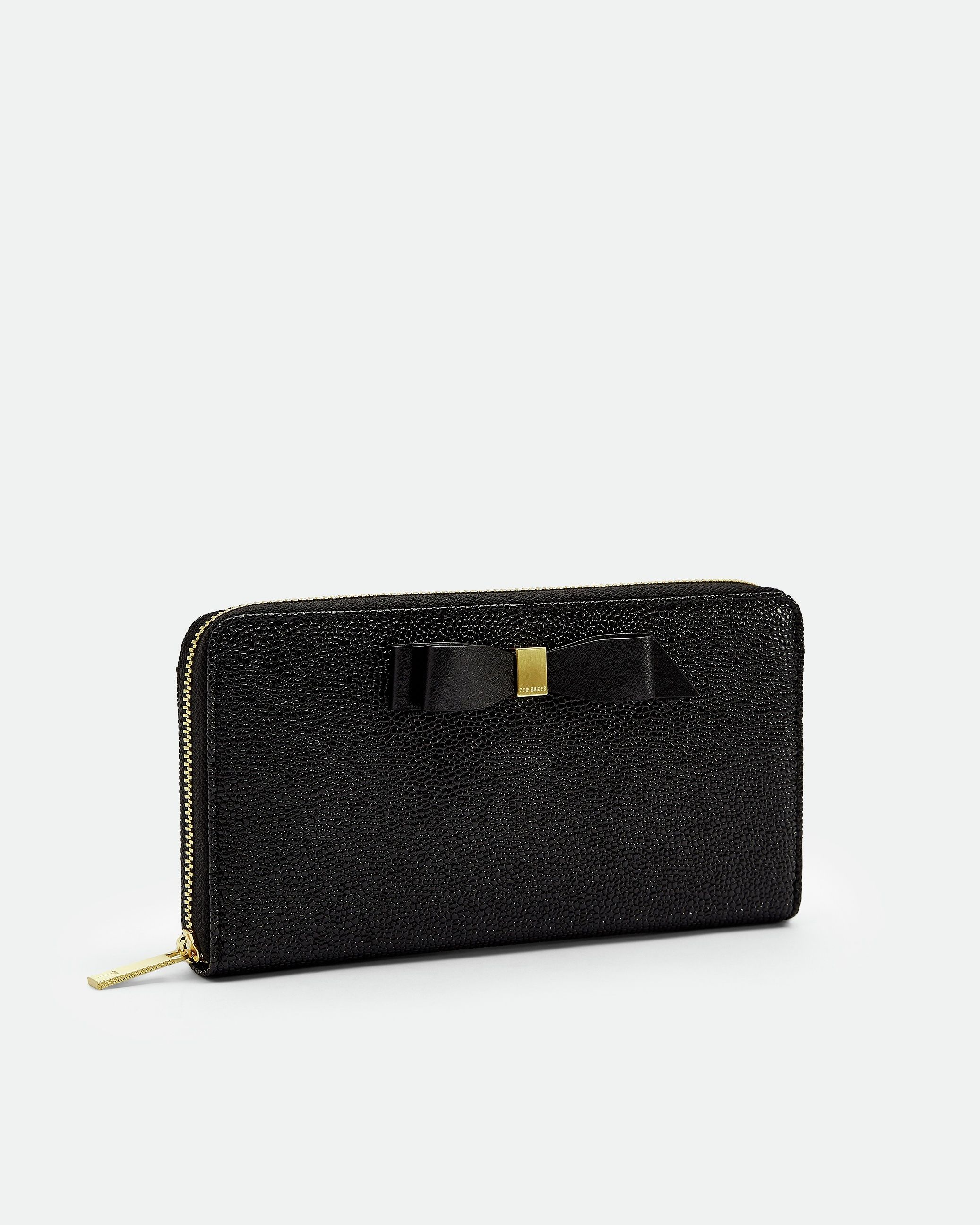 Ted Baker Aine Bow Leather Matinee Purse in Black