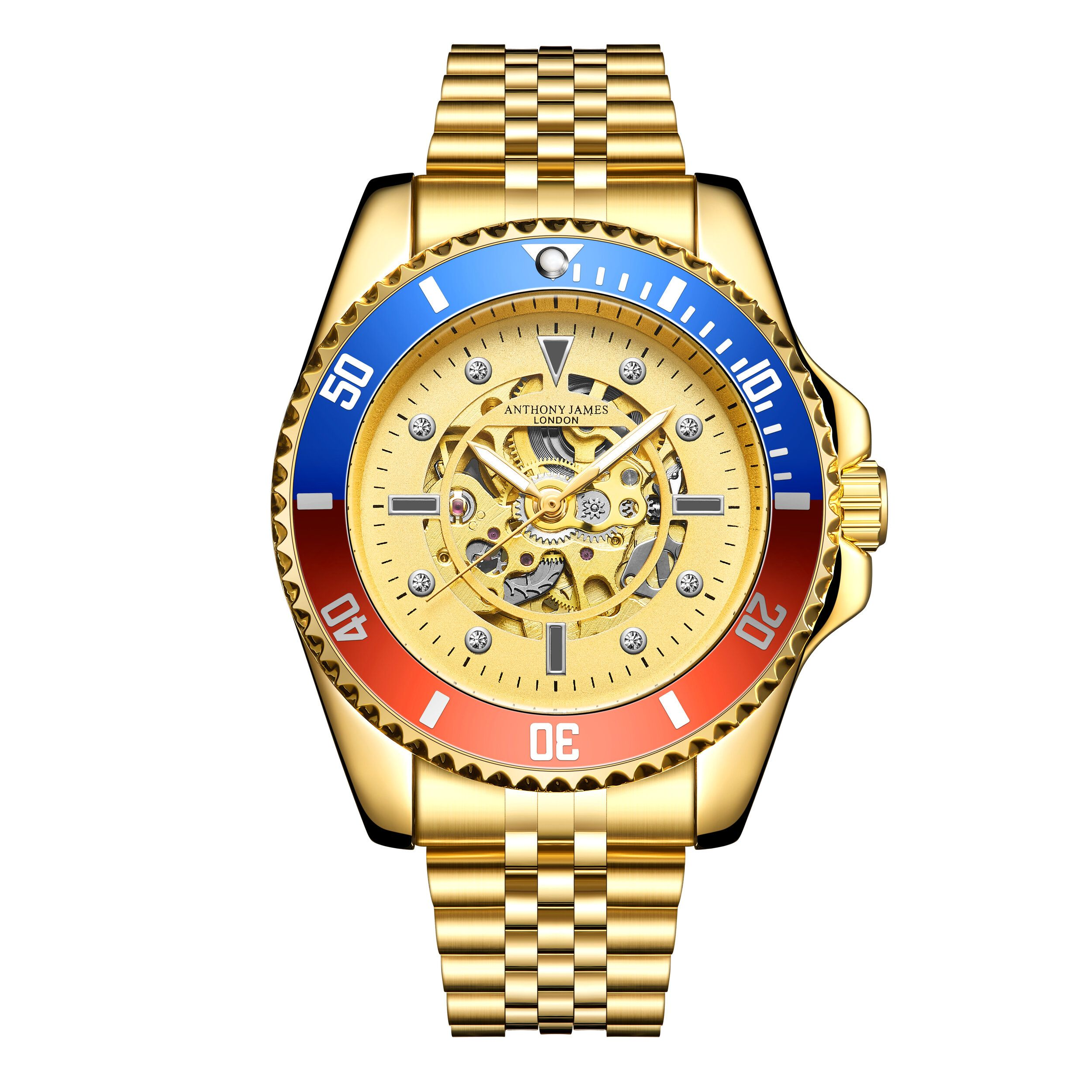 Hand Assembled Anthony James Limited Edition Skeleton Sports Automatic Gold