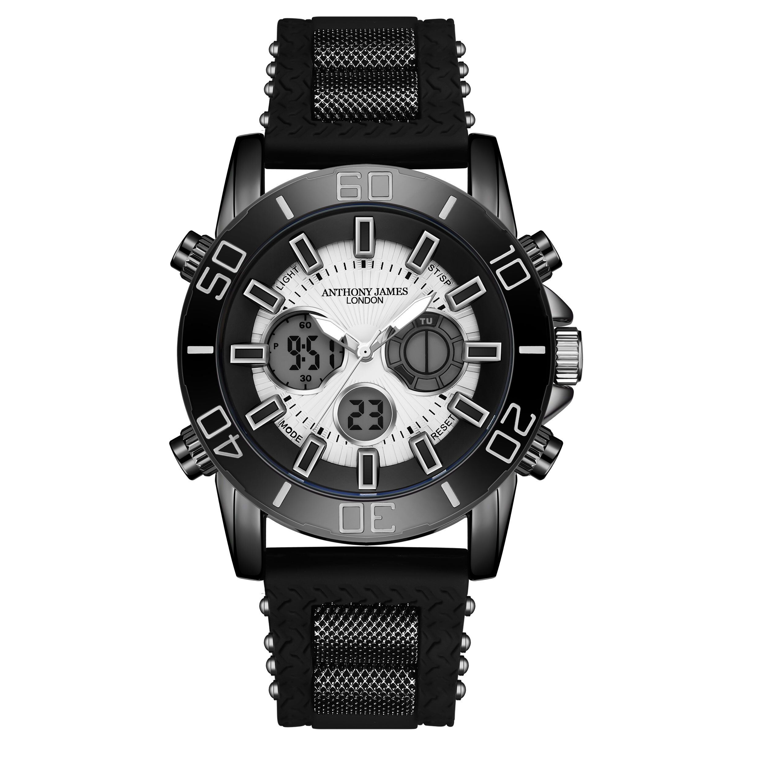 Hand Assembled Anthony James Limited Edition Sports Chrono Black - 5 Year Warranty