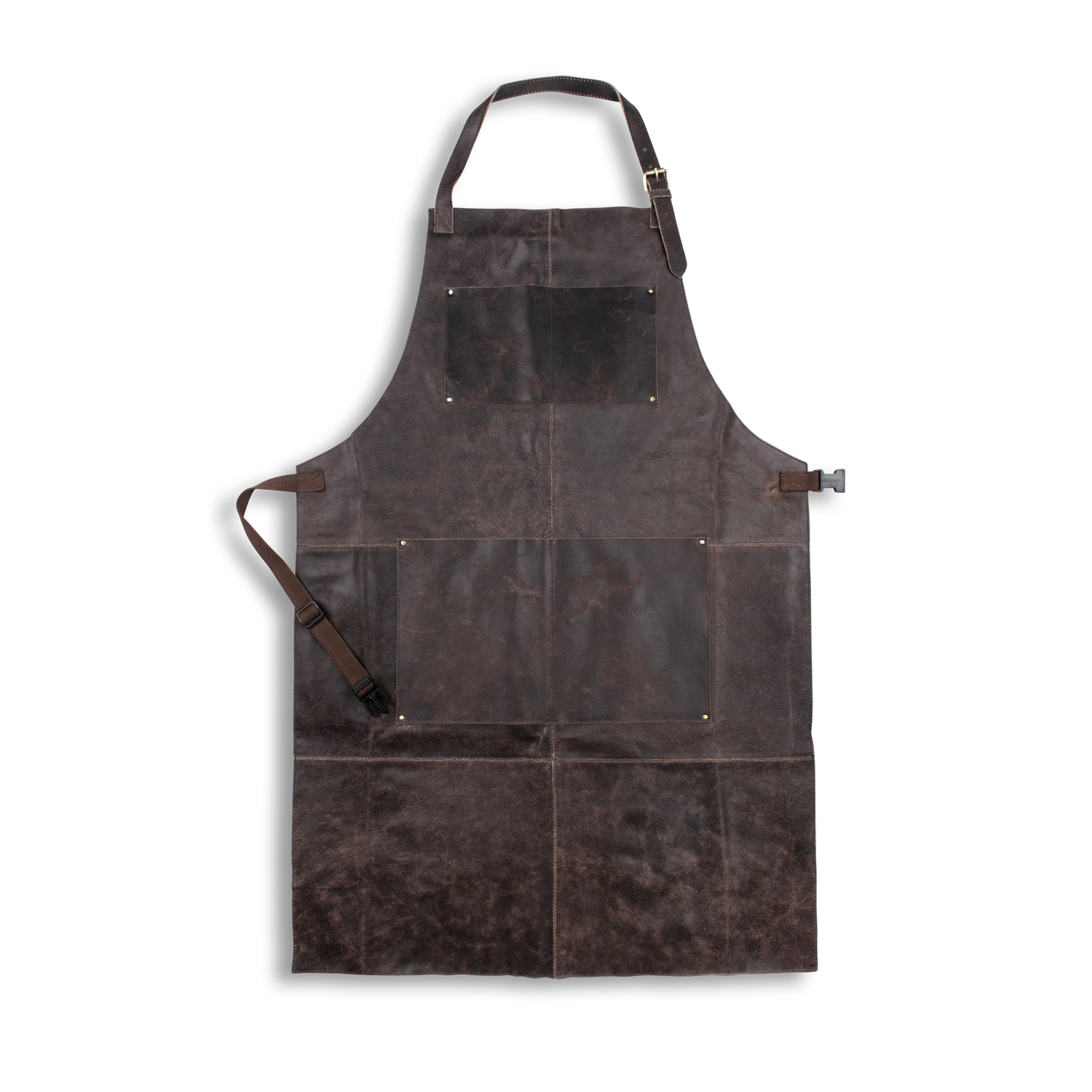 WOODLAND LEATHER UNISEX CRACKLE LEATHER APRON, FULL LENGTH WITH ADJUSTABLE TIE WAIST