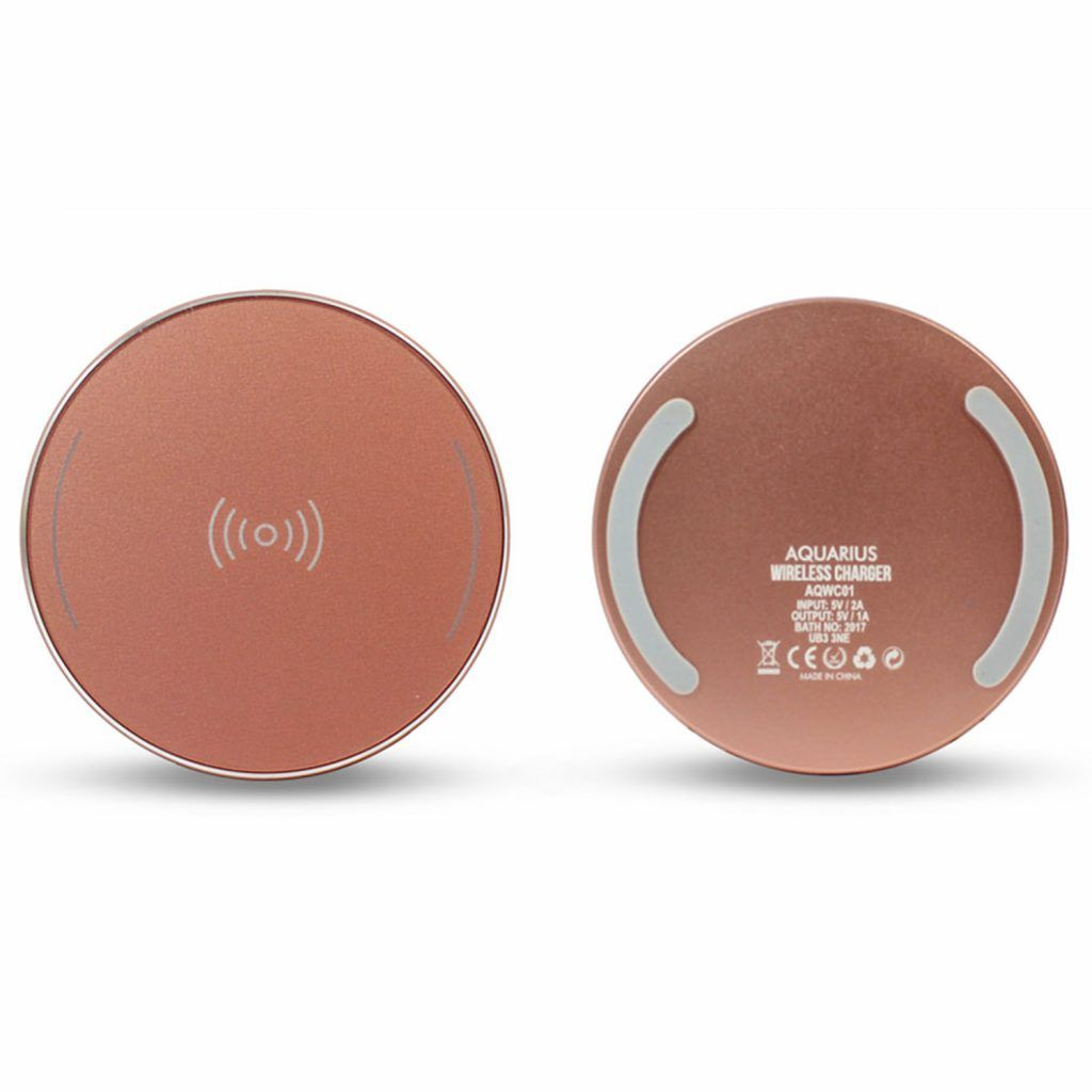 Aquarius Wireless Charger Round Rose Gold