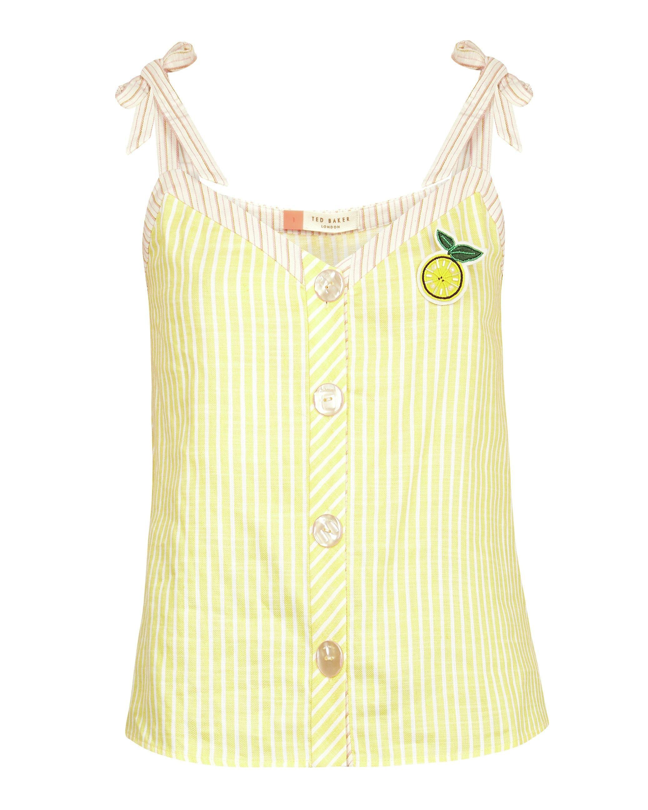 Ted Baker Asinara Cabin Linen Stripe Top in Yellow