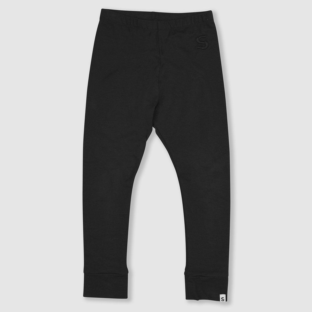 Black ribbed cotton leggings