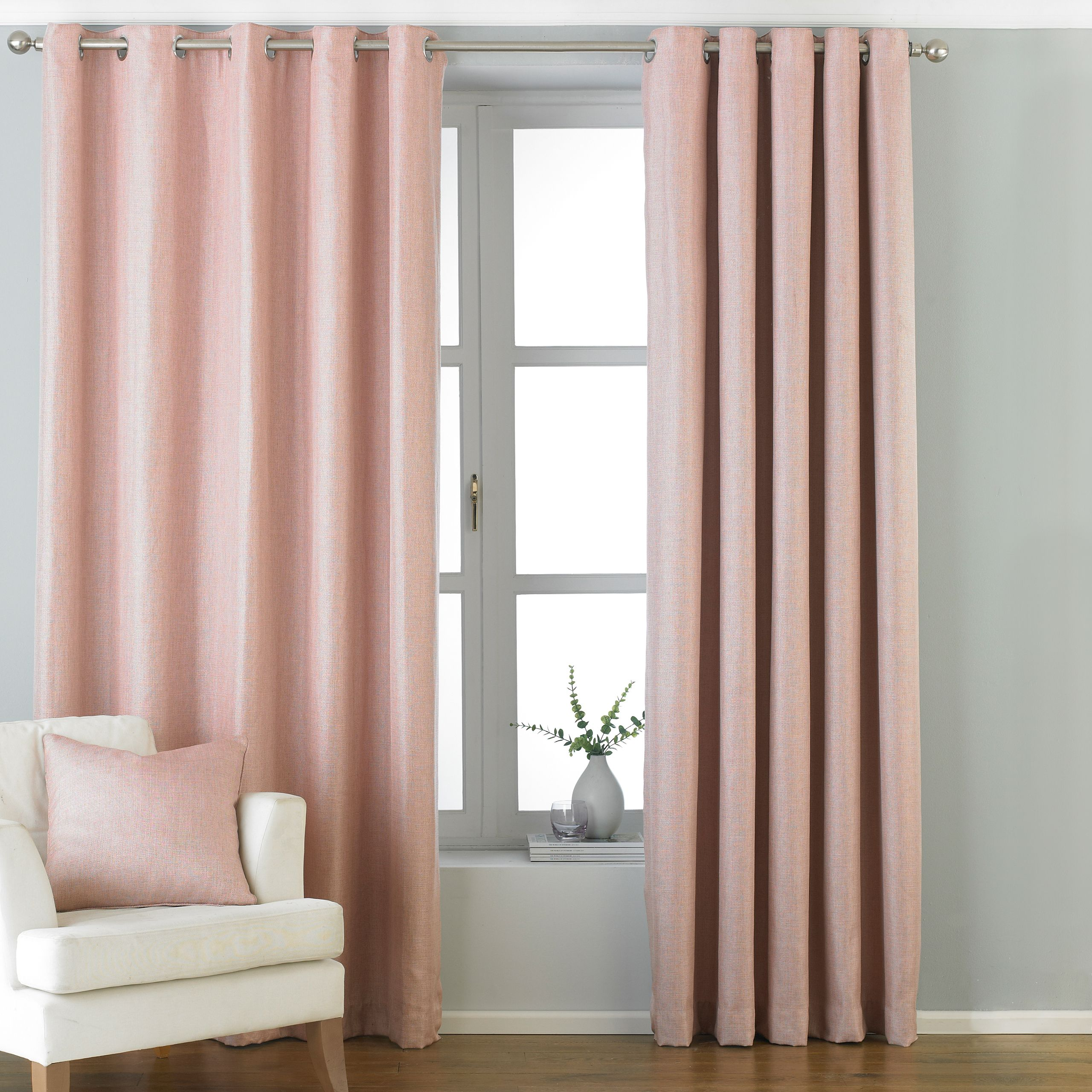 Atlantic Twill Woven Eyelet Curtains in Blush