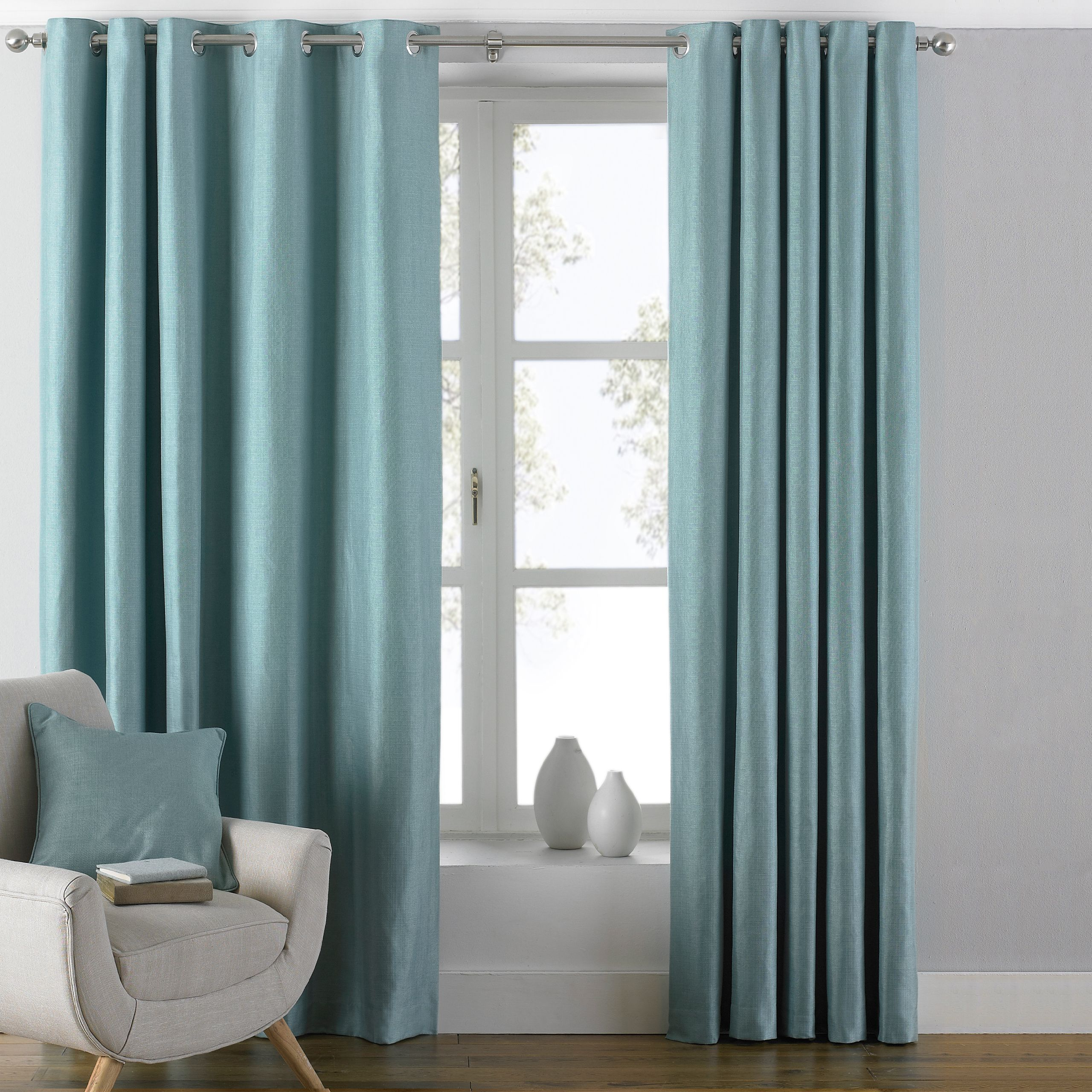Atlantic Twill Woven Eyelet Curtains in Duck Egg Blue