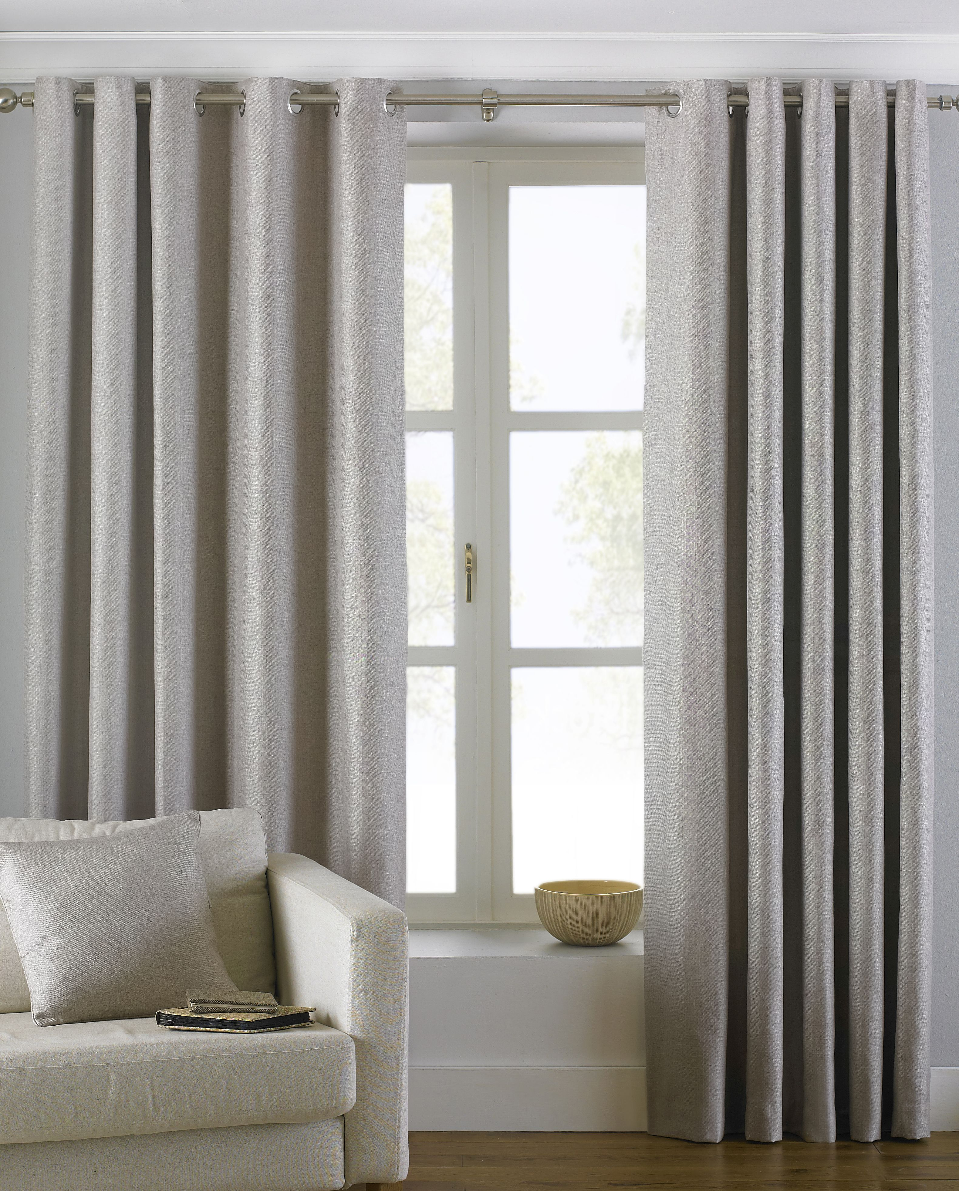 Atlantic Twill Woven Eyelet Curtains in Natural