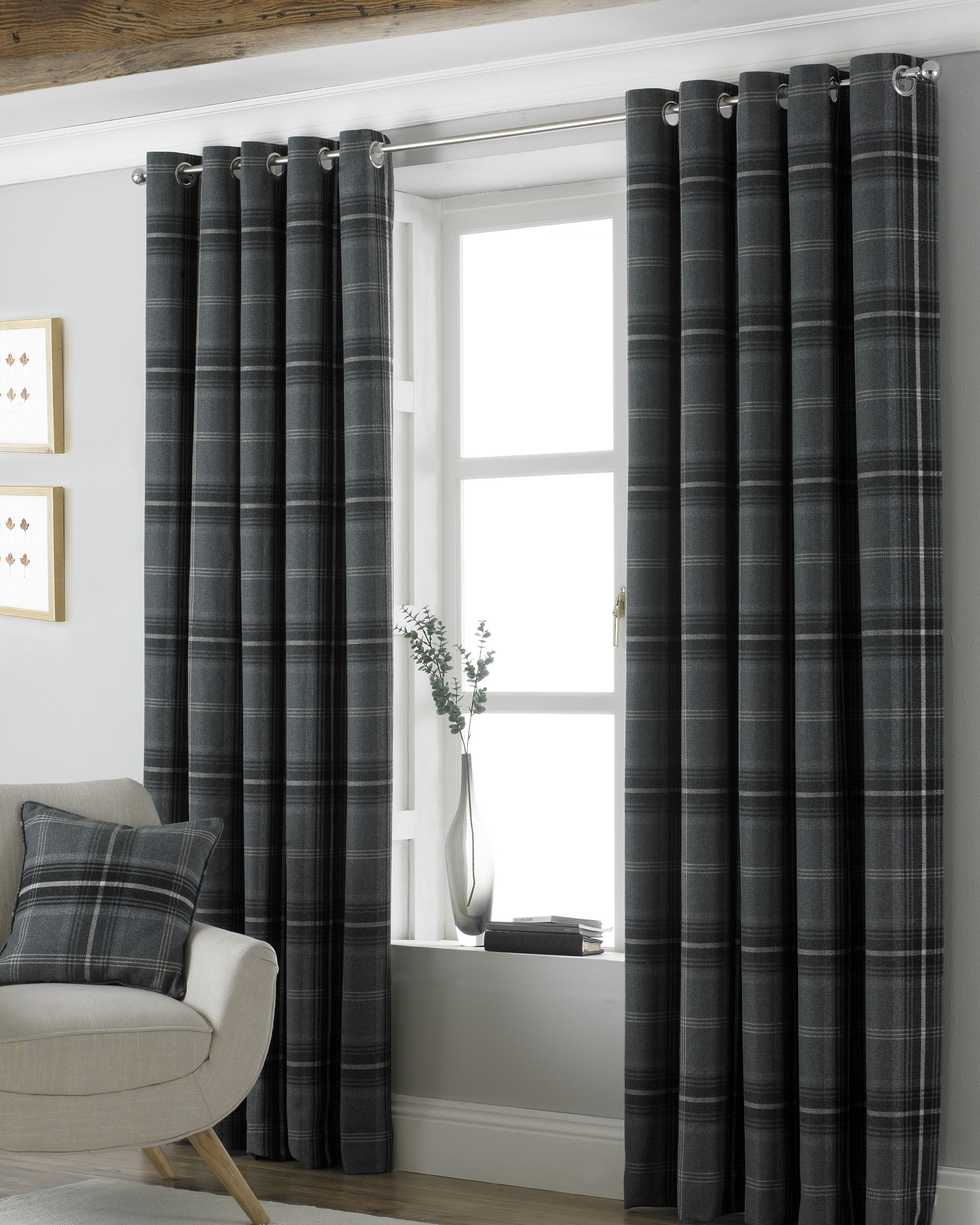 Aviemore Wool Effect Eyelet Curtains in Grey