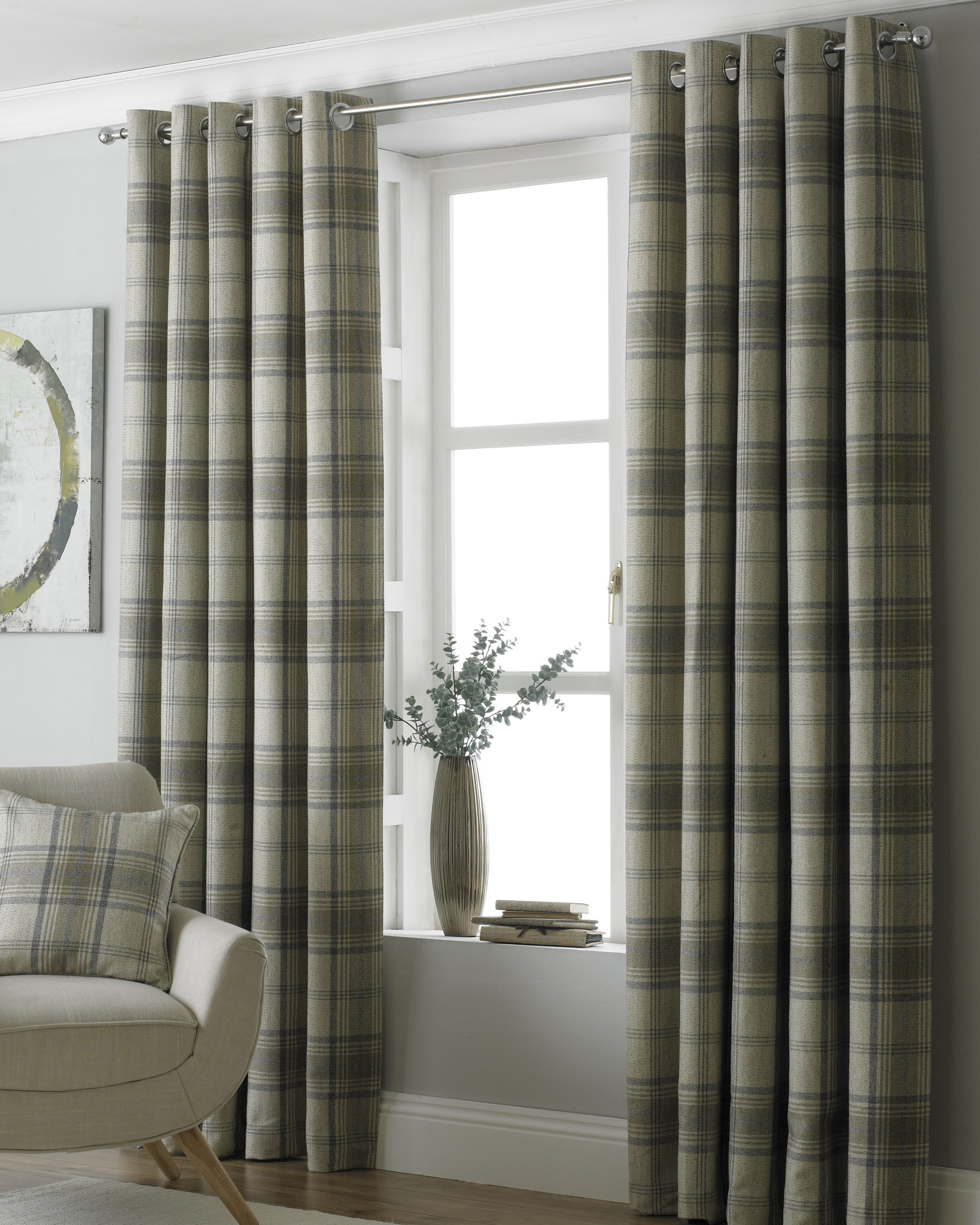 Aviemore Wool Effect Eyelet Curtains in Natural